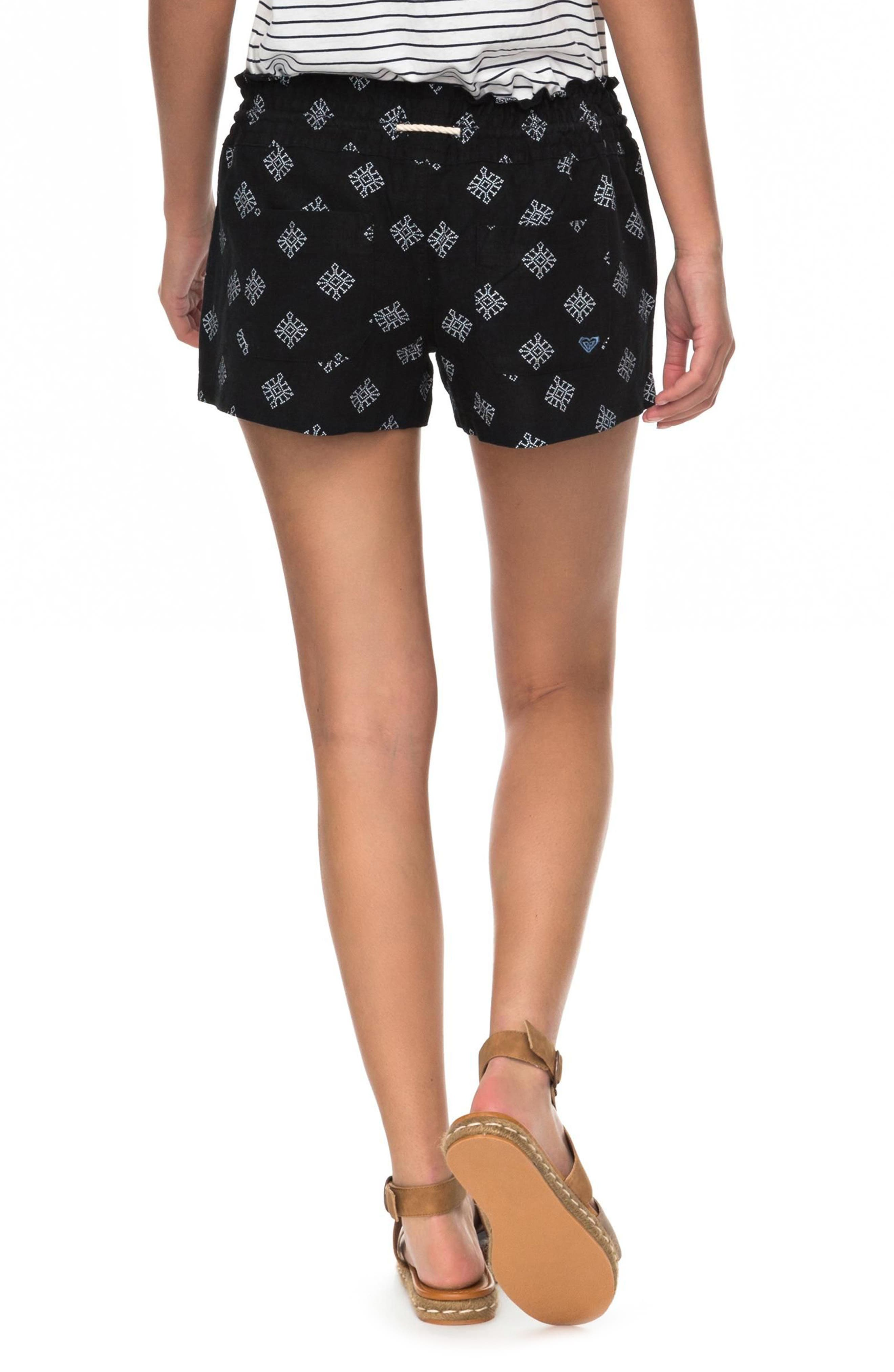 Oceanside Printed Drawstring Shorts,                             Alternate thumbnail 3, color,                             Anthracite Pearly Tiles