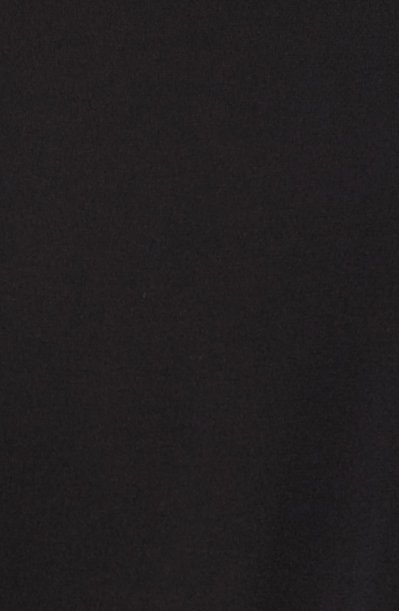 Bateau Neck Silk Dress,                             Alternate thumbnail 5, color,                             Black