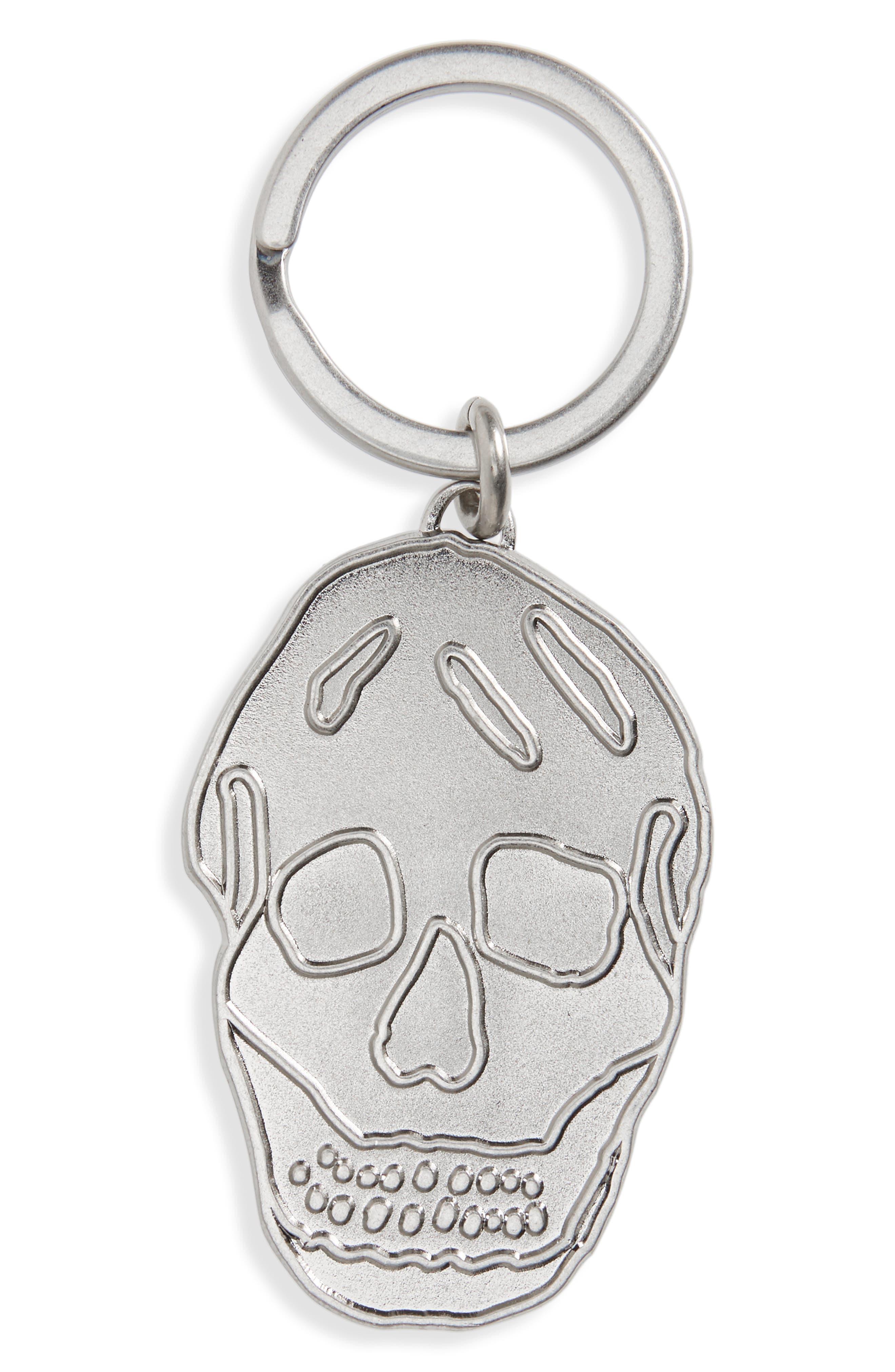 Skull Brass Key Ring,                         Main,                         color, Silver