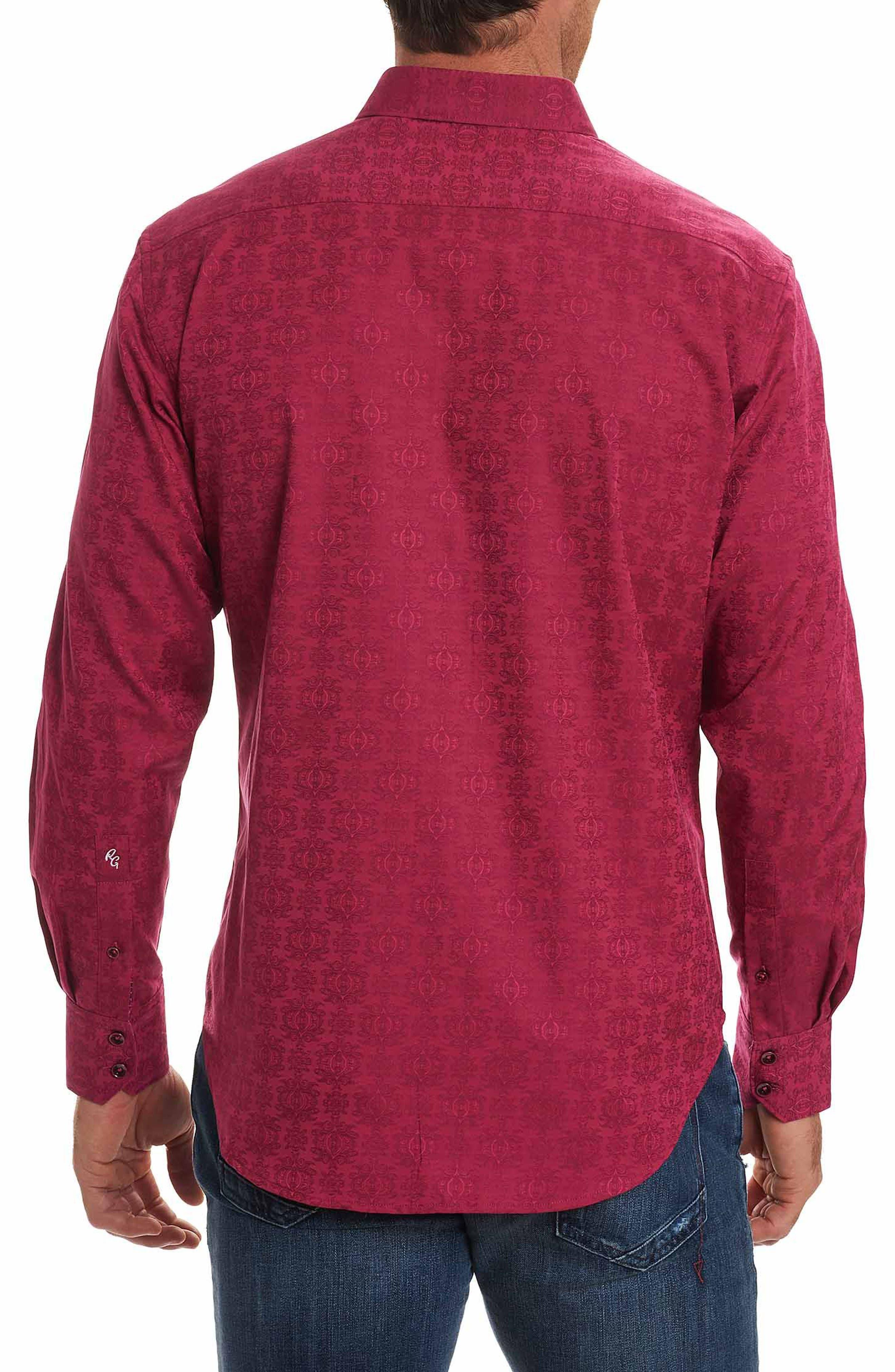 Cullen Classic Fit Jacquard Sport Shirt,                             Alternate thumbnail 3, color,                             Rose
