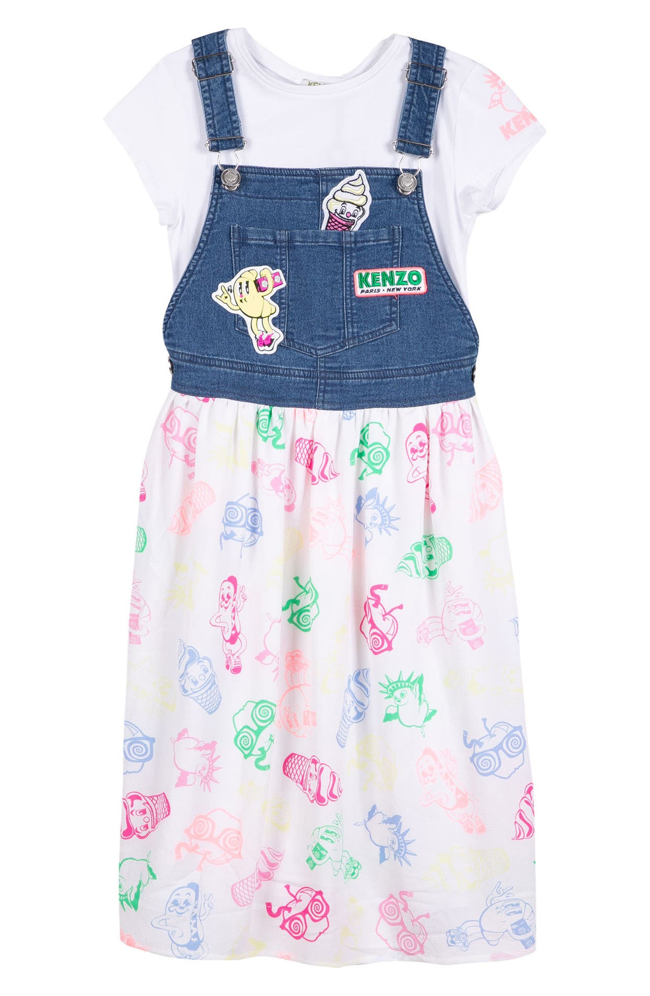 KENZO Food Fiesta Tee & Dungaree Dress (Toddler Girls, Little Girls & Big Girls)