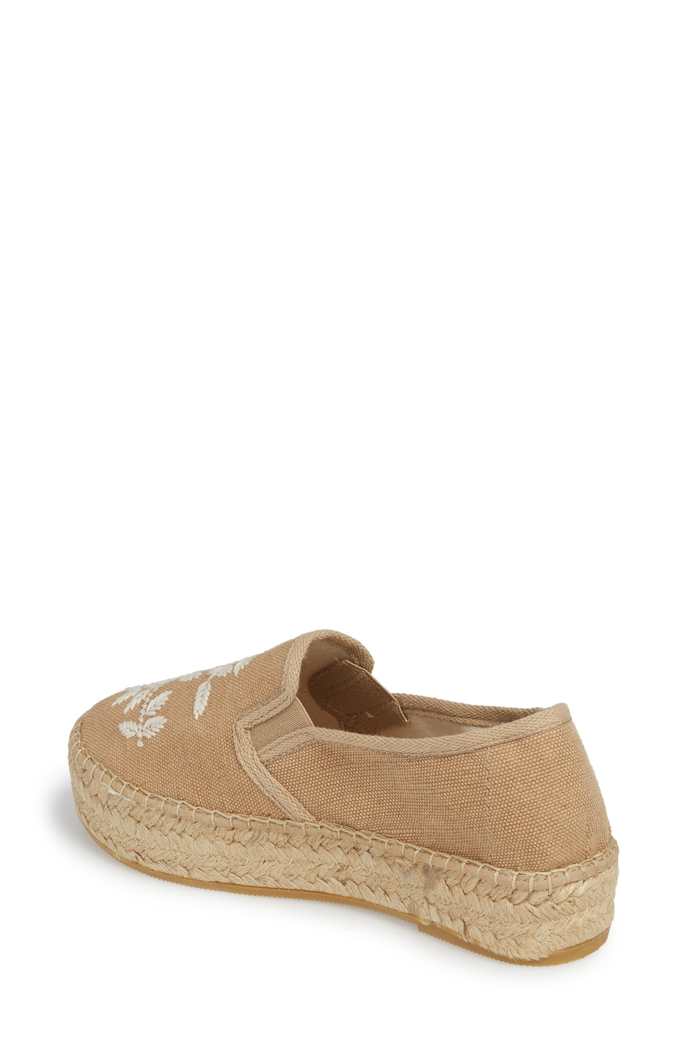 Florence Embroidered Platform Espadrille Sneaker,                             Alternate thumbnail 2, color,                             Tobacco Fabric