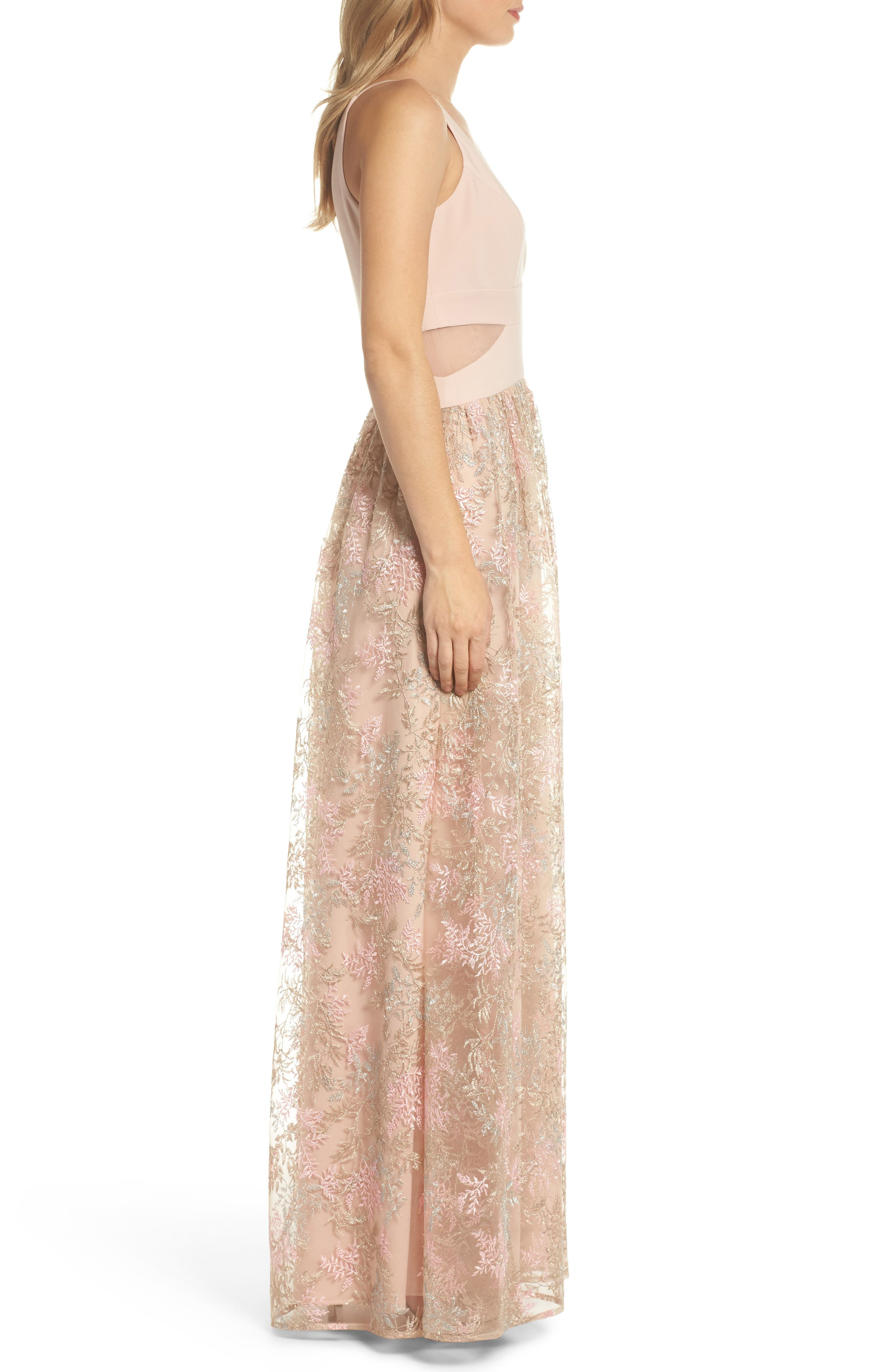 Mesh Inset Embroidered Gown,                             Alternate thumbnail 3, color,                             Blush/ Multi