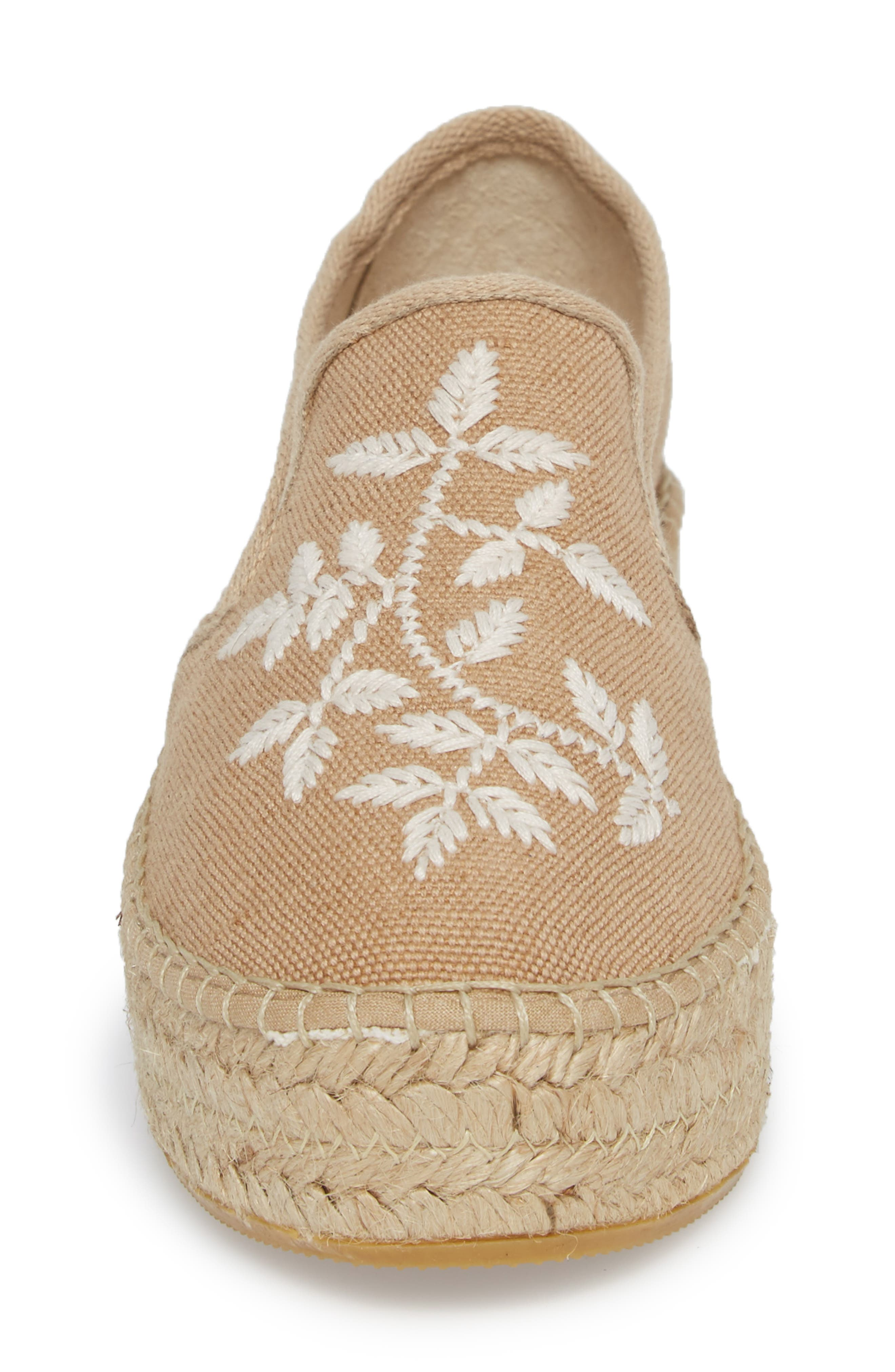 Florence Embroidered Platform Espadrille Sneaker,                             Alternate thumbnail 4, color,                             Tobacco Fabric