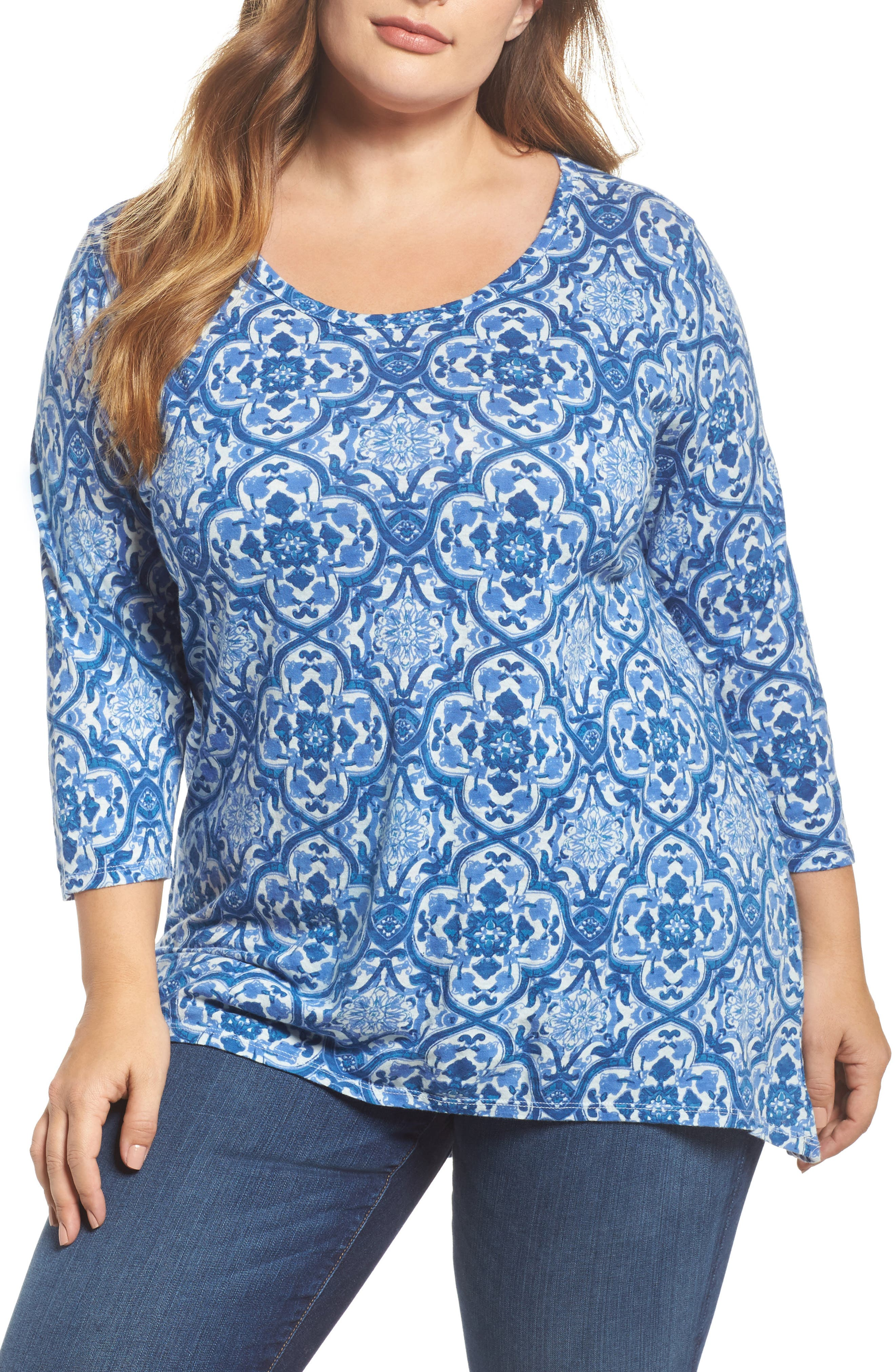 Alternate Image 1 Selected - Lucky Brand Tile Print Top (Plus Size)