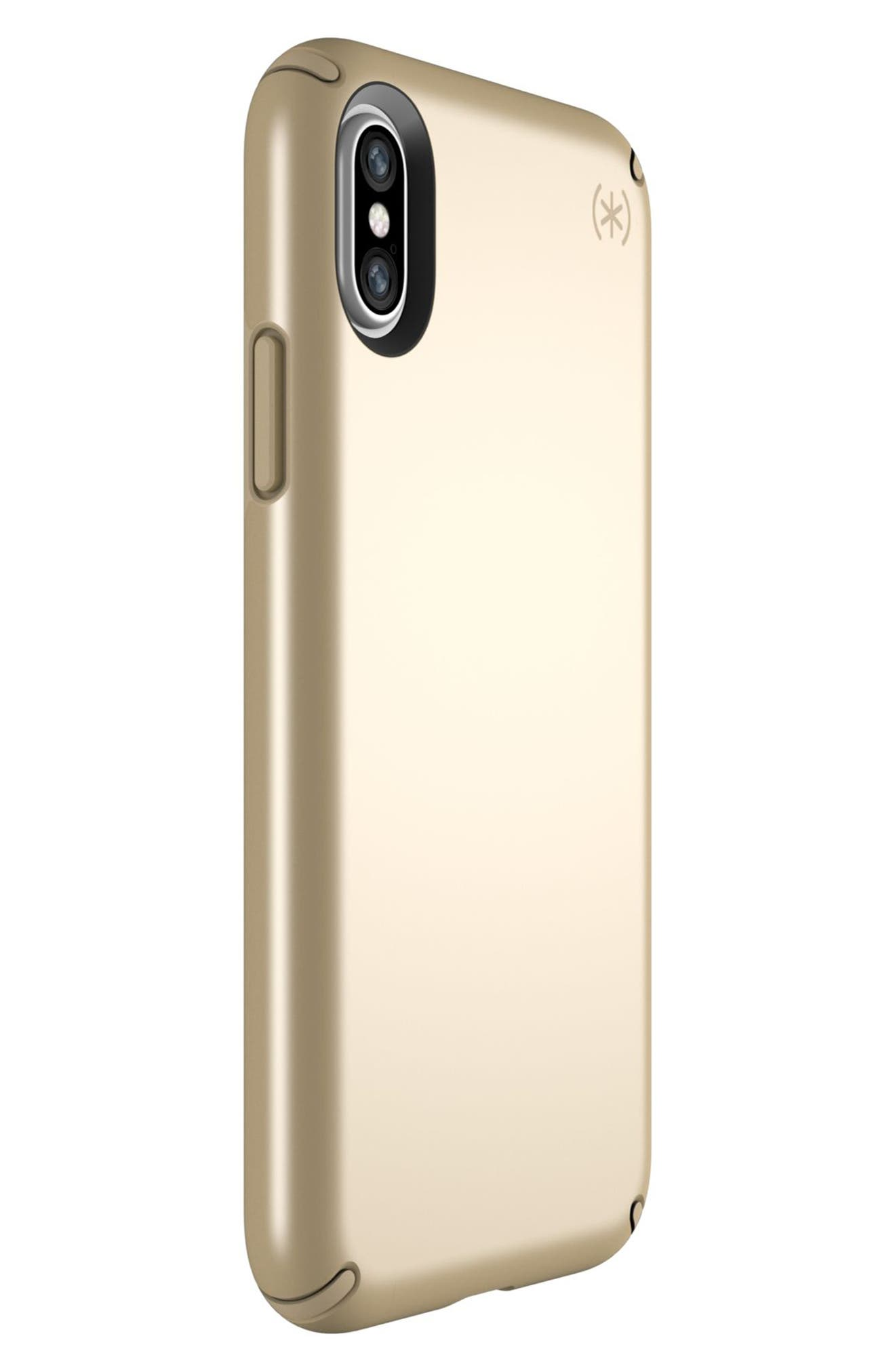 iPhone X Case,                             Alternate thumbnail 2, color,                             Pale Yellow Gold/ Brown