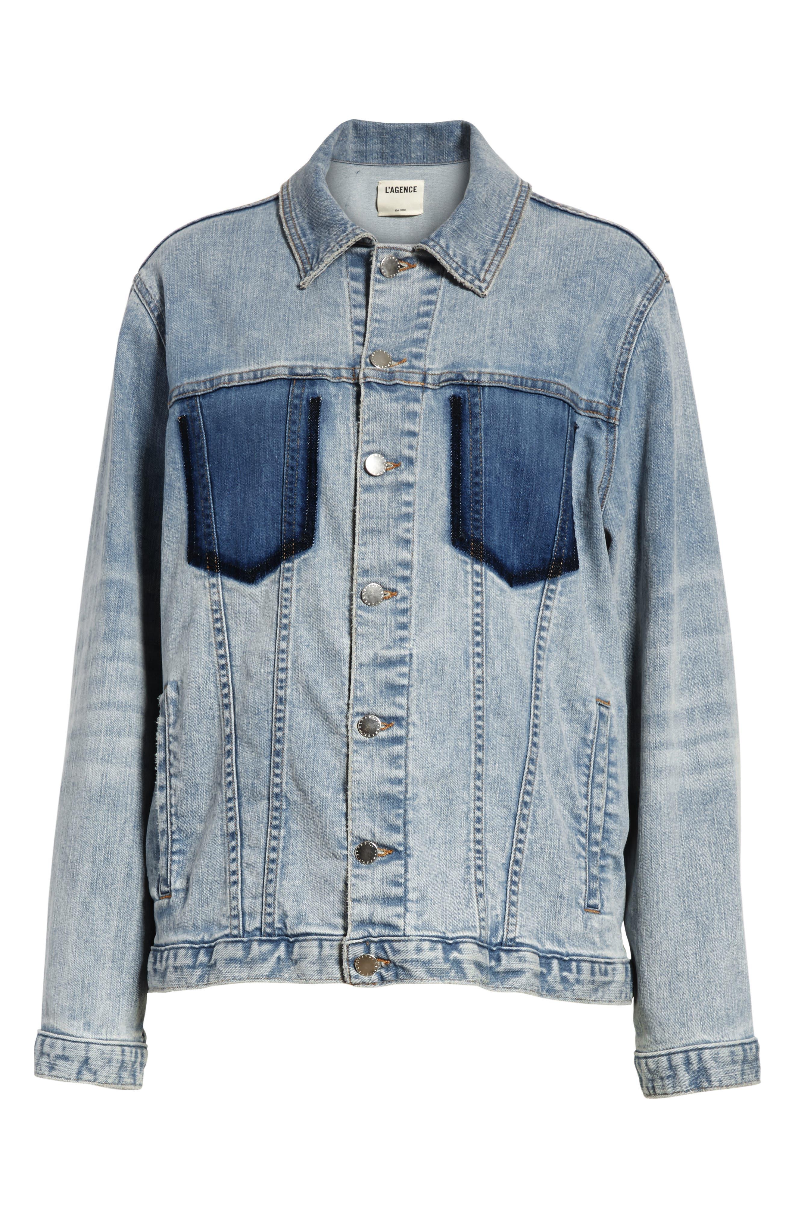 Alternate Image 6  - L'AGENCE Karina Shadow Pocket Denim Jacket