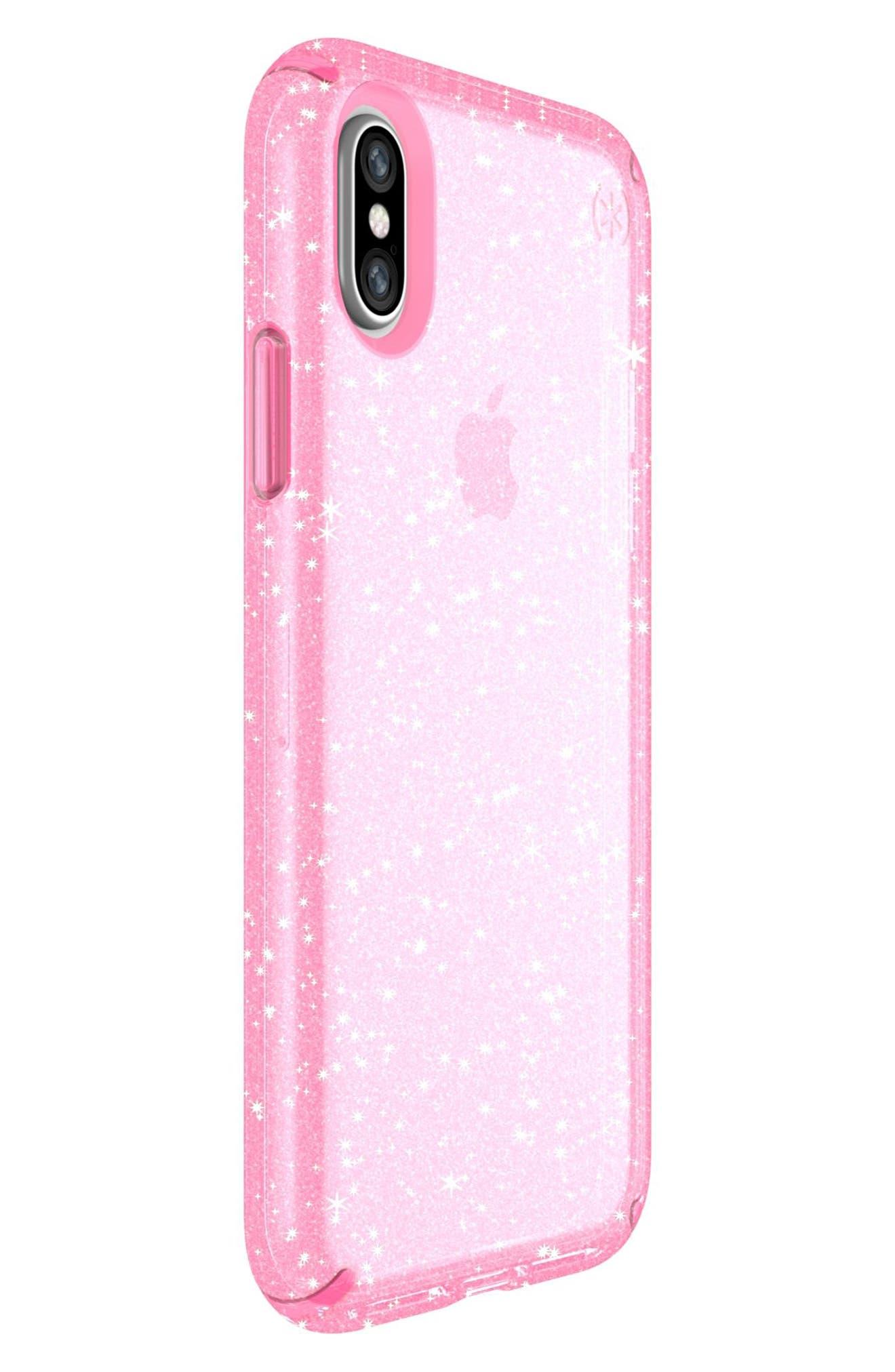 Transparent iPhone X Case,                             Alternate thumbnail 2, color,                             Bella Pink Gold Glitter/ Pink