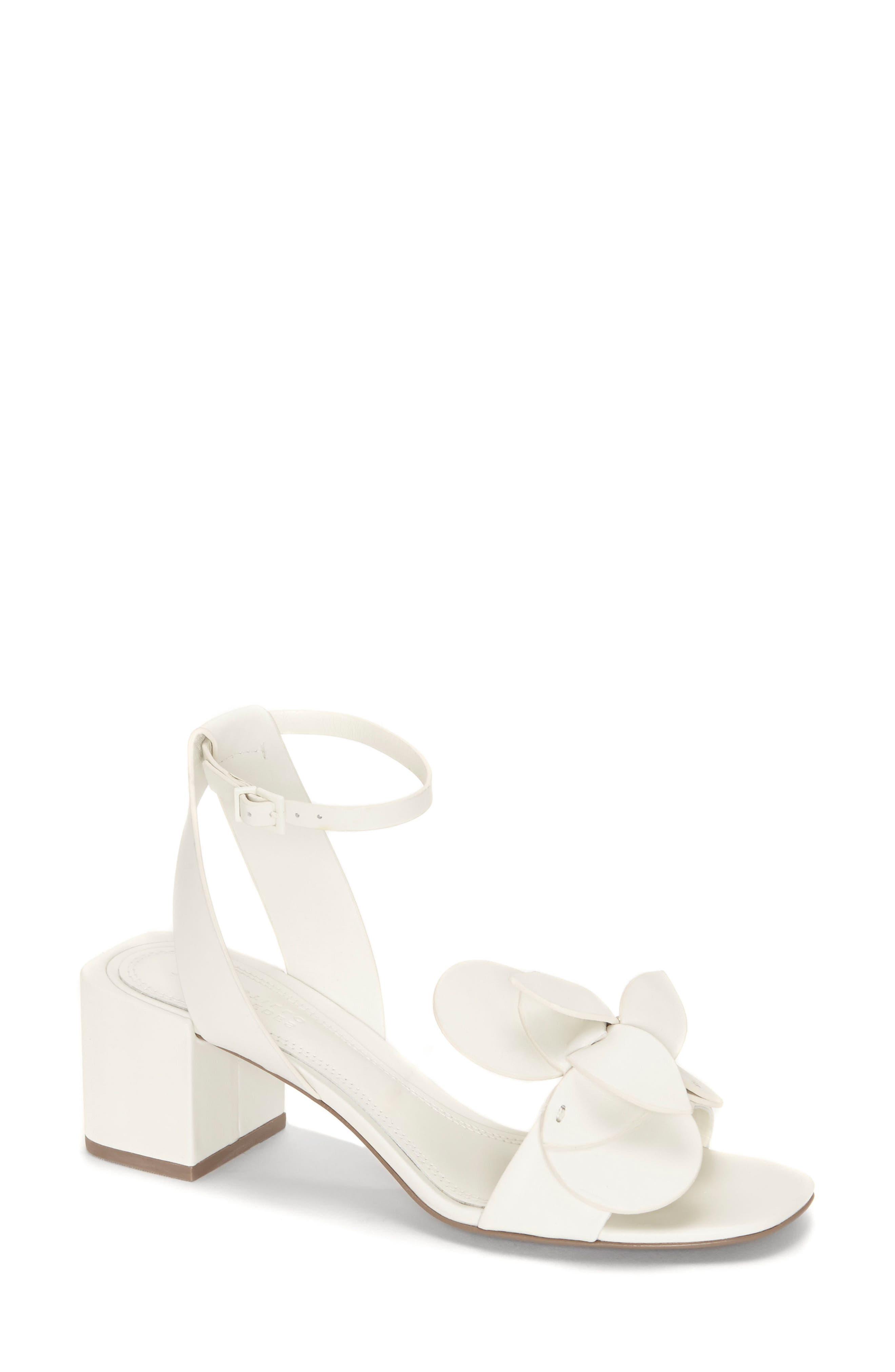 Tealia Sculpted Floral Sandal,                         Main,                         color, White Leather