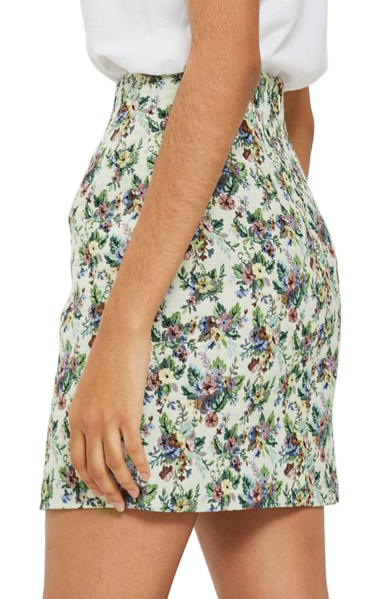 Alternate Image 2  - Topshop Floral Jacquard High Waist Skirt