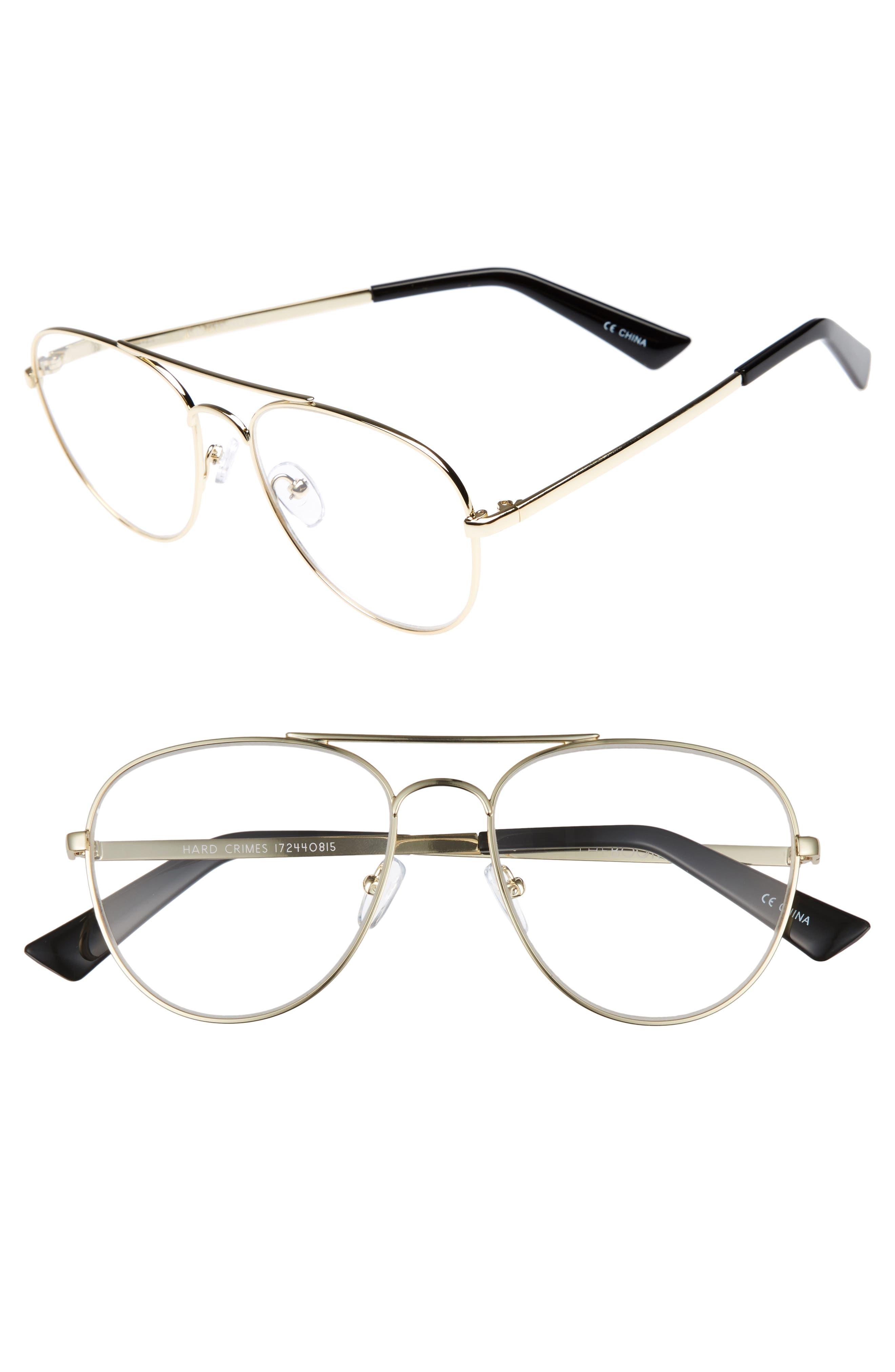 Hard Crimes 55mm Aviator Reading Glasses,                             Main thumbnail 1, color,                             Gold/ Black Marker