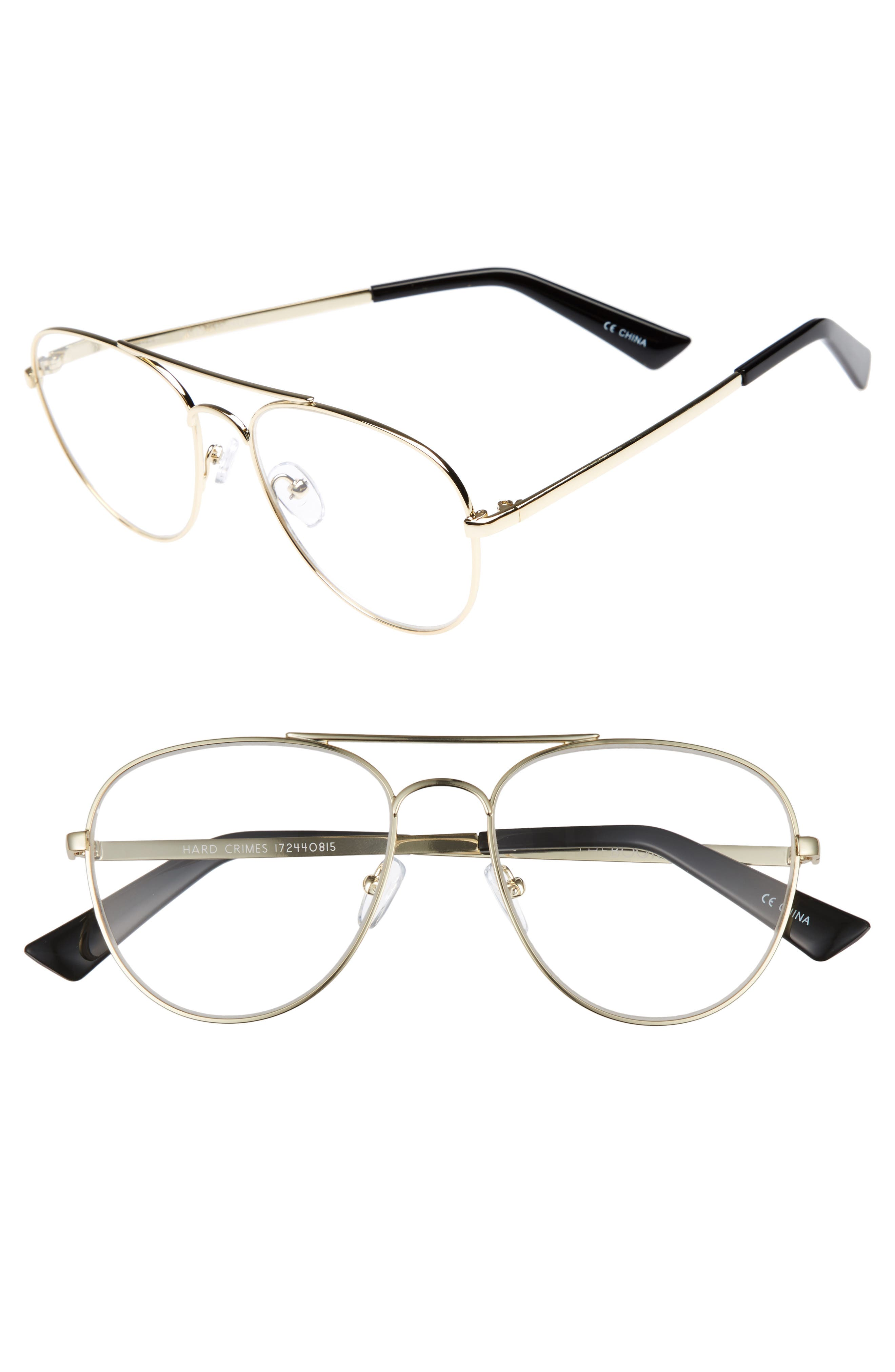 Hard Crimes 55mm Aviator Reading Glasses,                         Main,                         color, Gold/ Black Marker