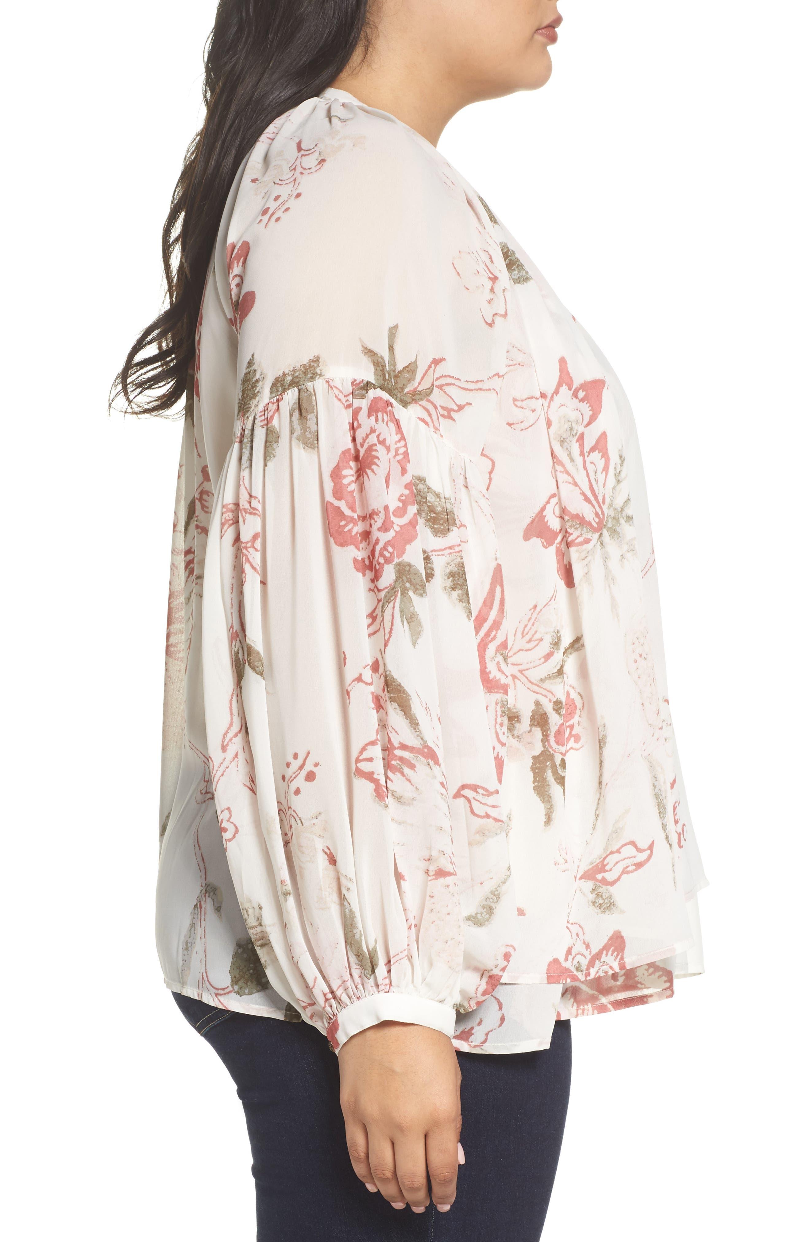Alternate Image 3  - Lucky Brand Jenna Print Peasant Top (Plus Size)