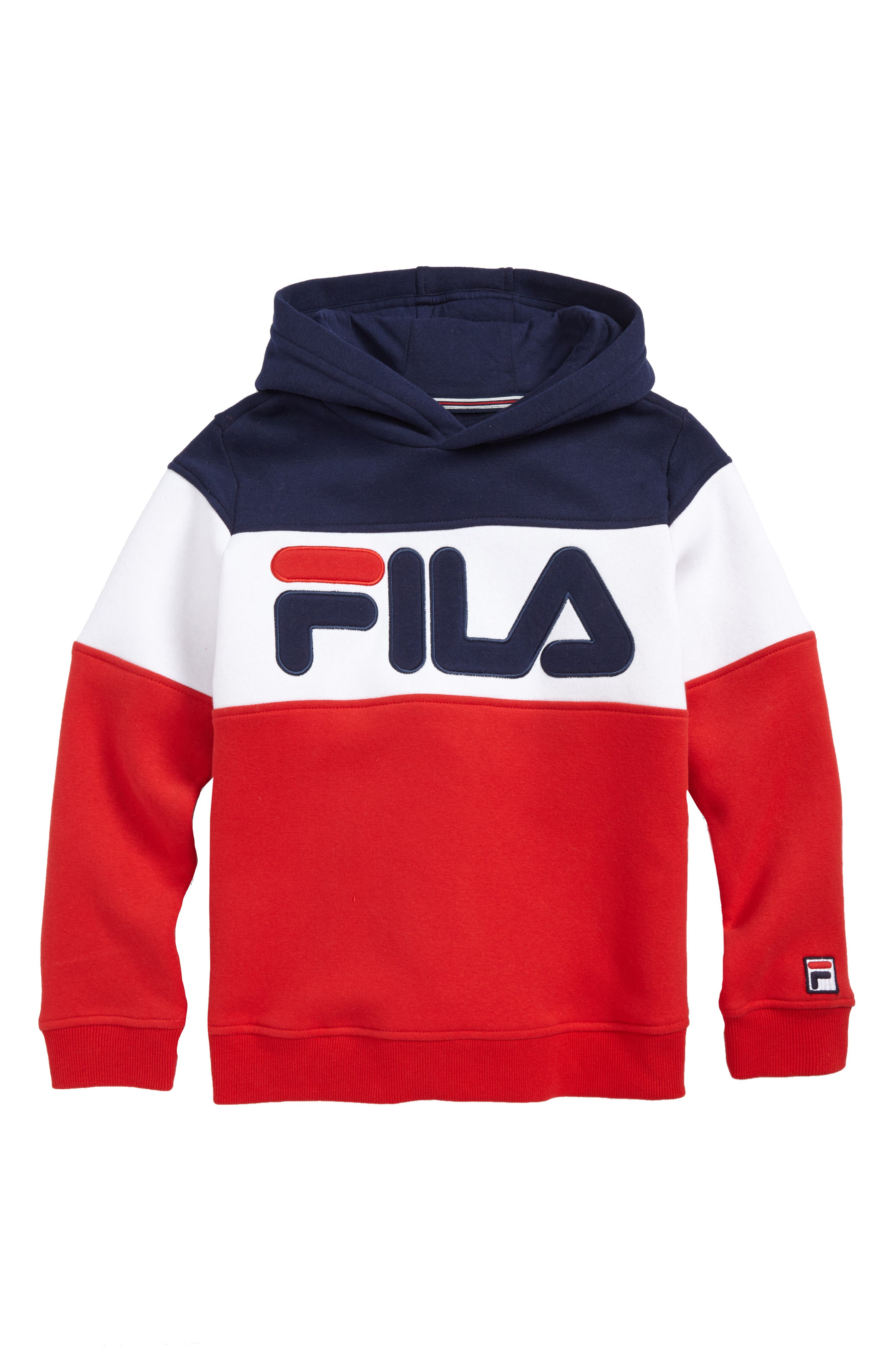 Colorblock Logo Hoodie,                         Main,                         color, Navy/ White/ Red