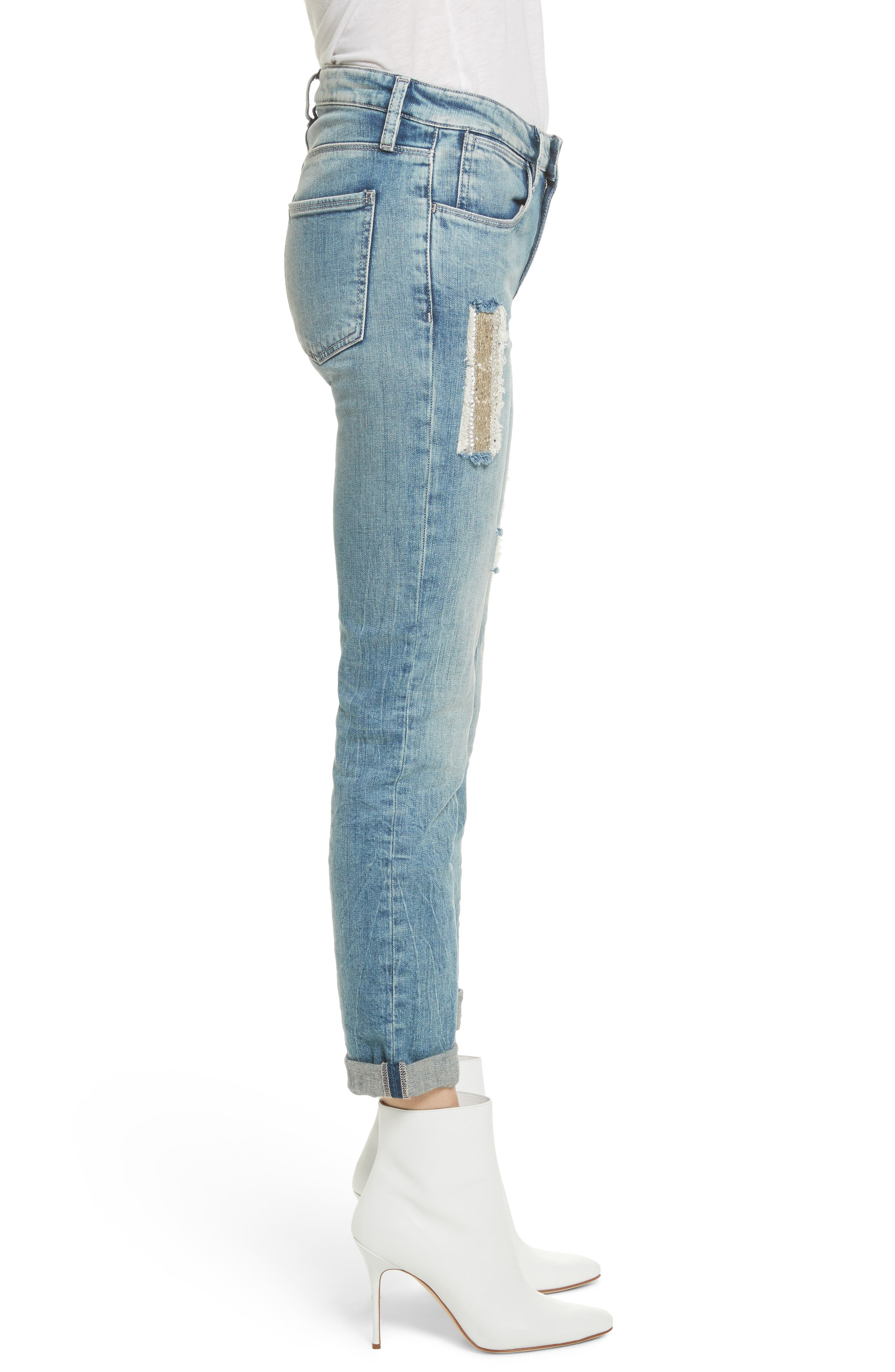 Embellished Boyfriend Jeans,                             Alternate thumbnail 3, color,                             Blue Berry