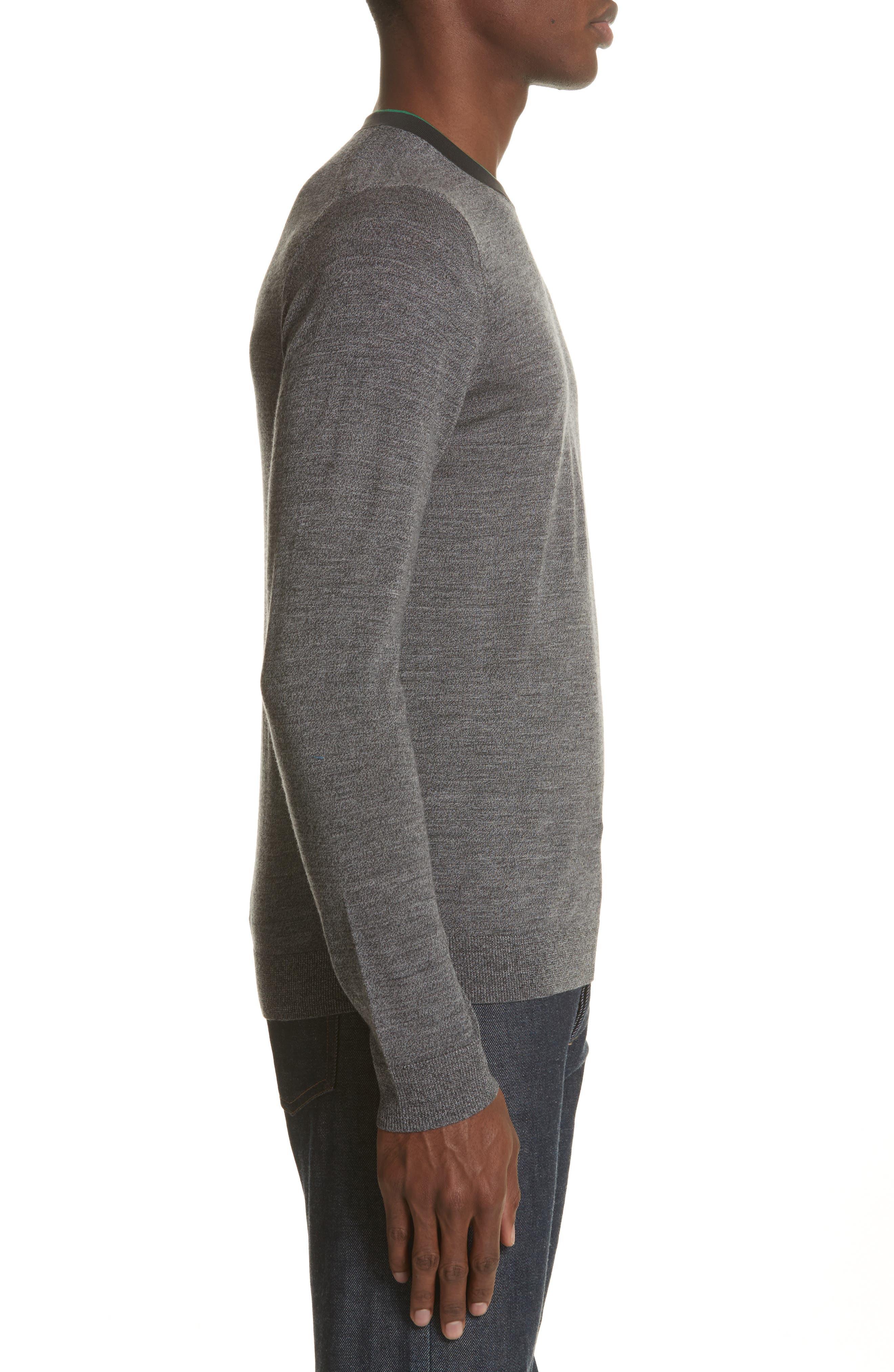 Crewneck Merino Wool Blend Sweater,                             Alternate thumbnail 3, color,                             Grey