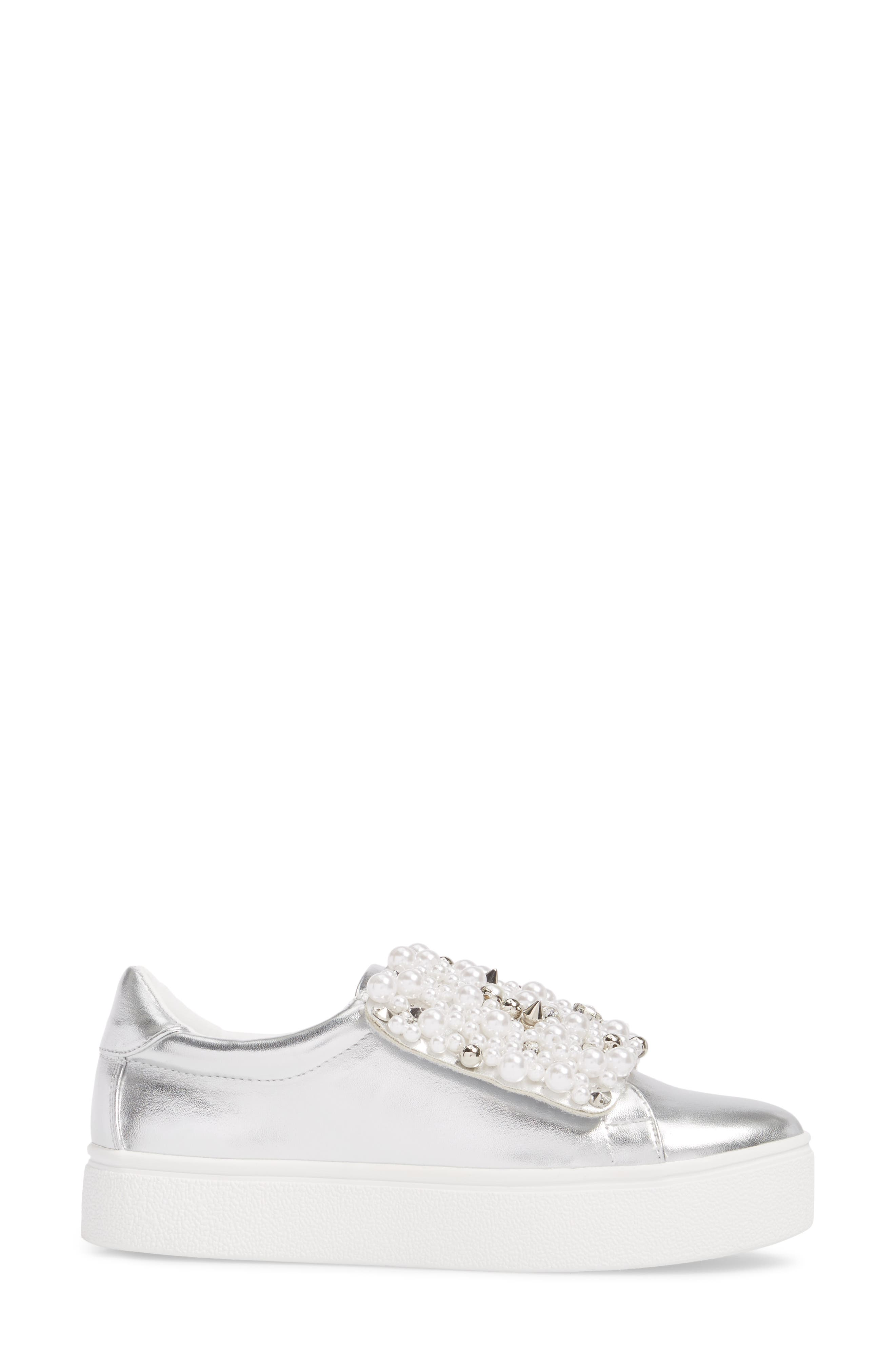 Lion Embellished Slip-On Platform Sneaker,                             Alternate thumbnail 3, color,                             Silver Faux Leather