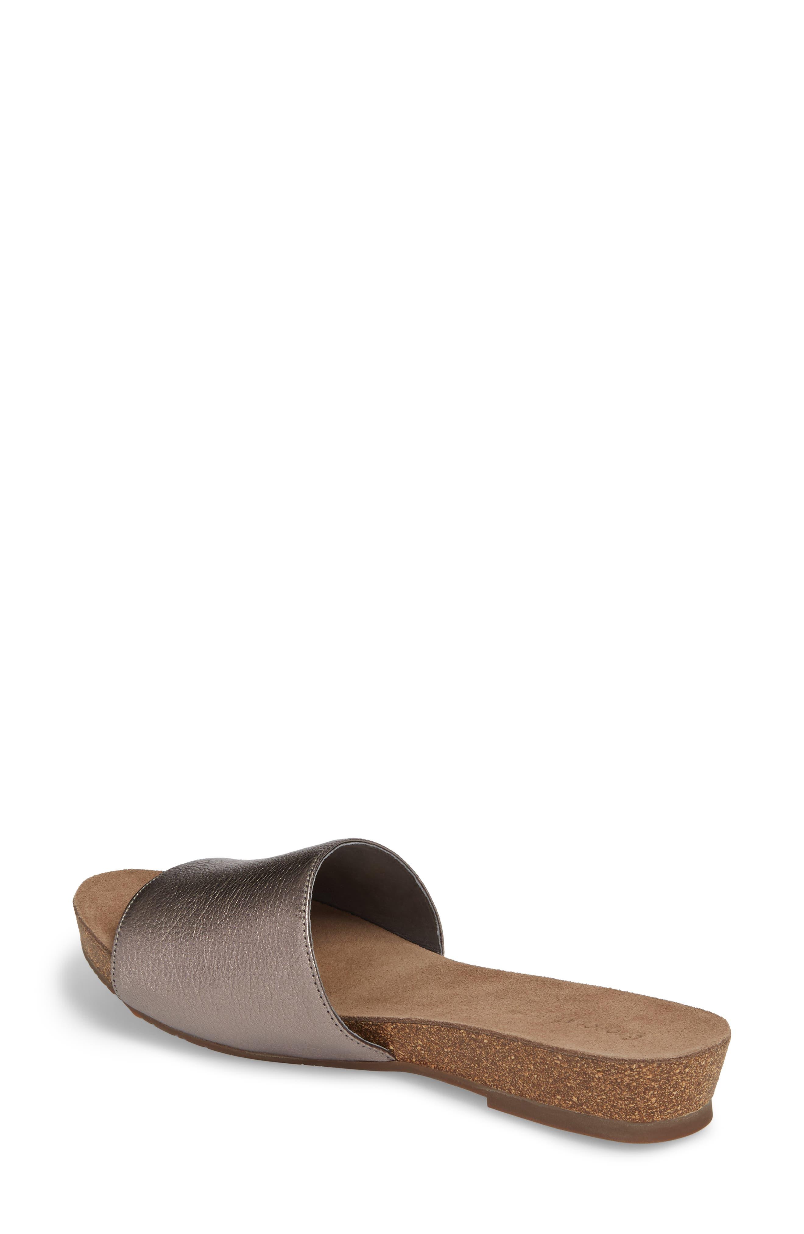 Viveca Slide Sandal,                             Alternate thumbnail 2, color,                             Gunmetal Leather