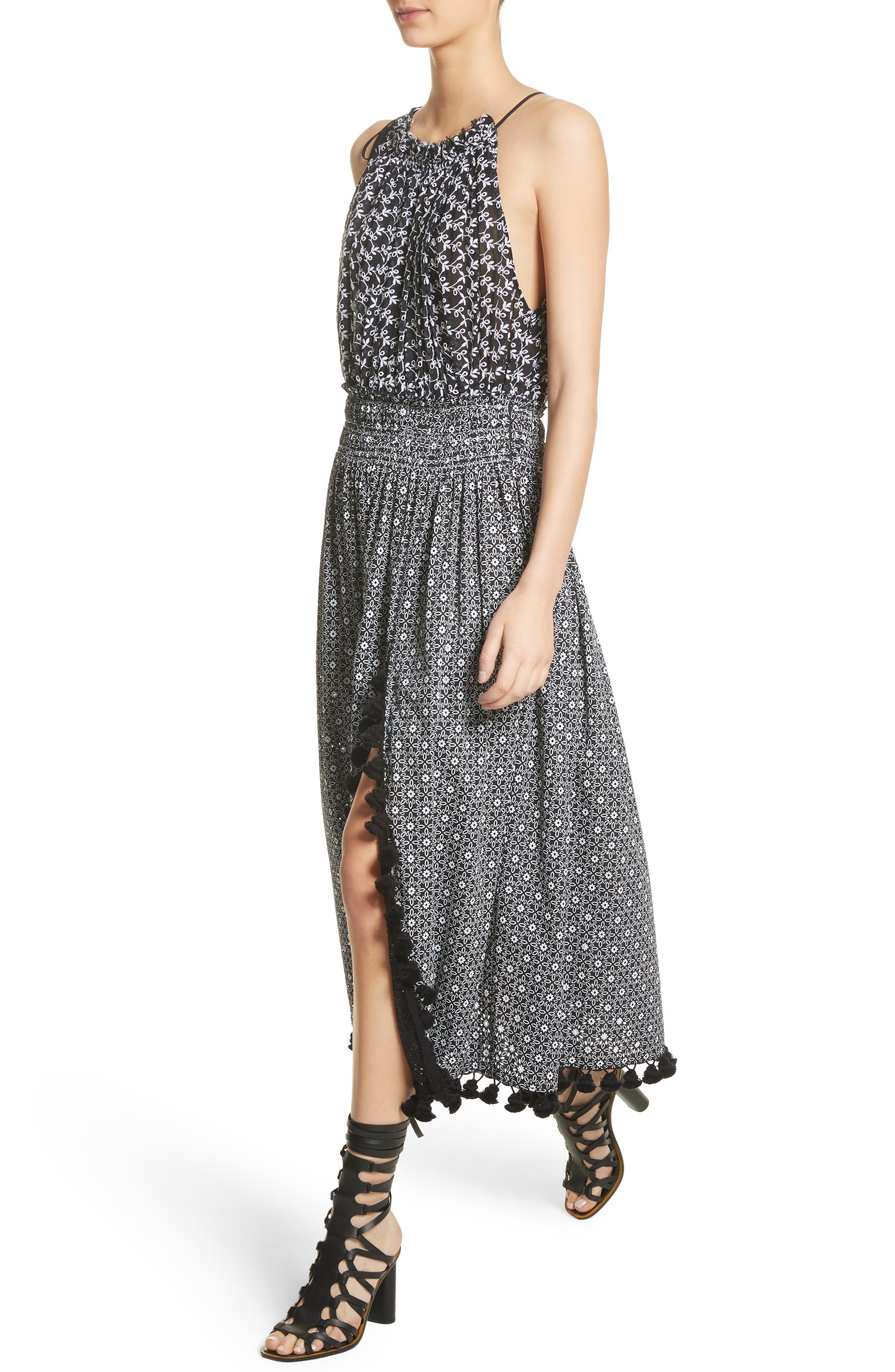 Pompom Trim Smock Waist Dress,                             Alternate thumbnail 6, color,                             Black