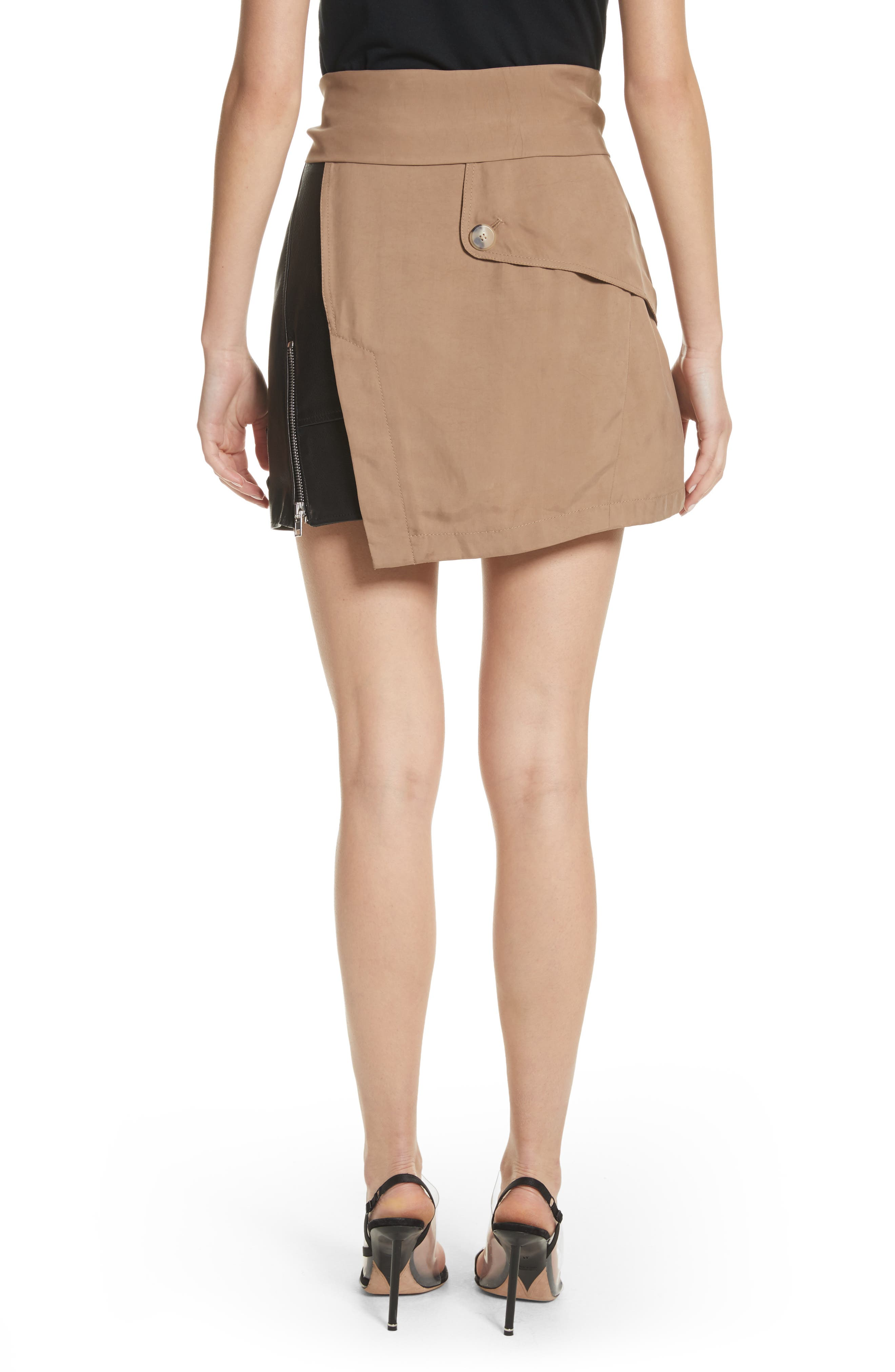 Trench Combo Leather Miniskirt,                             Alternate thumbnail 2, color,                             Sable