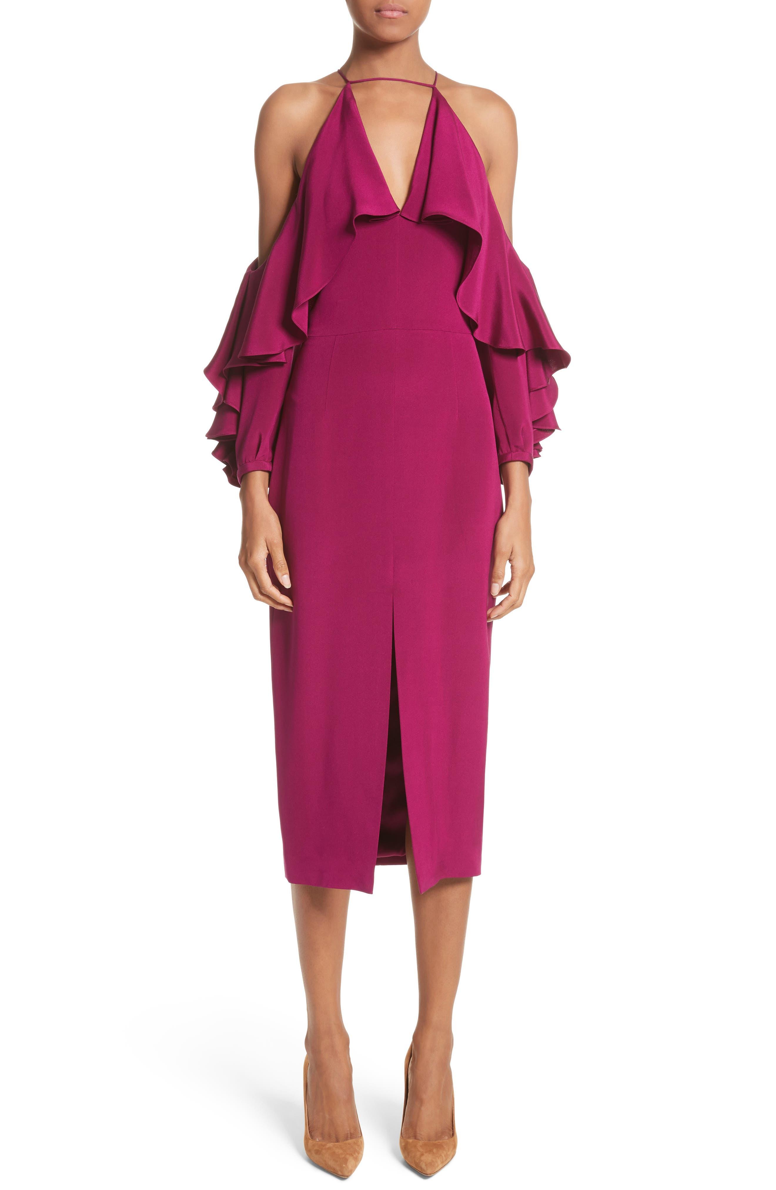 Cold Shoulder Ruffle Silk Sheath Dress,                         Main,                         color, Dahlia