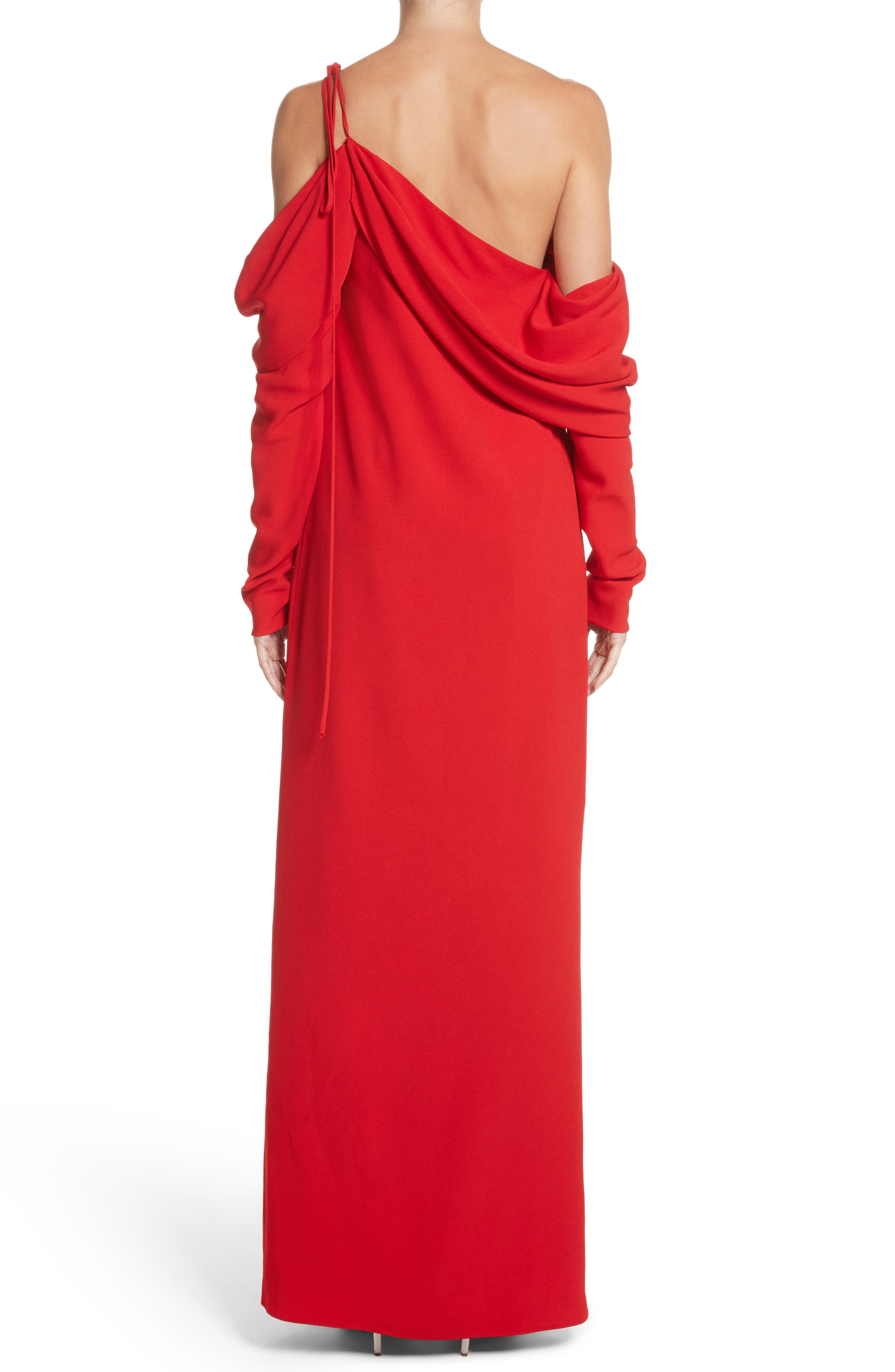 Cowl Sleeve Gown,                             Alternate thumbnail 3, color,                             Red