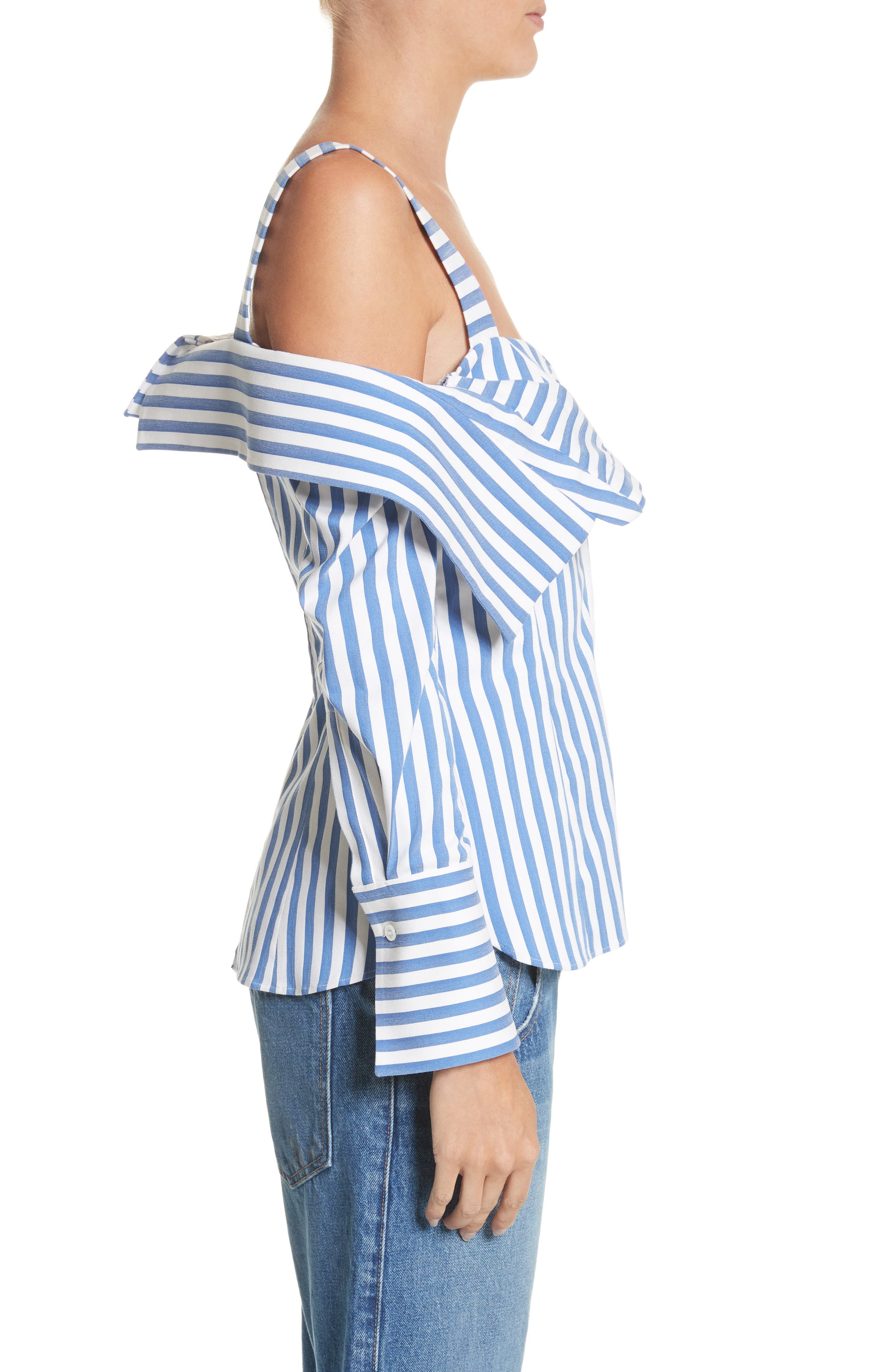 Stripe Poplin Cold Shoulder Top,                             Alternate thumbnail 3, color,                             Blue/ White
