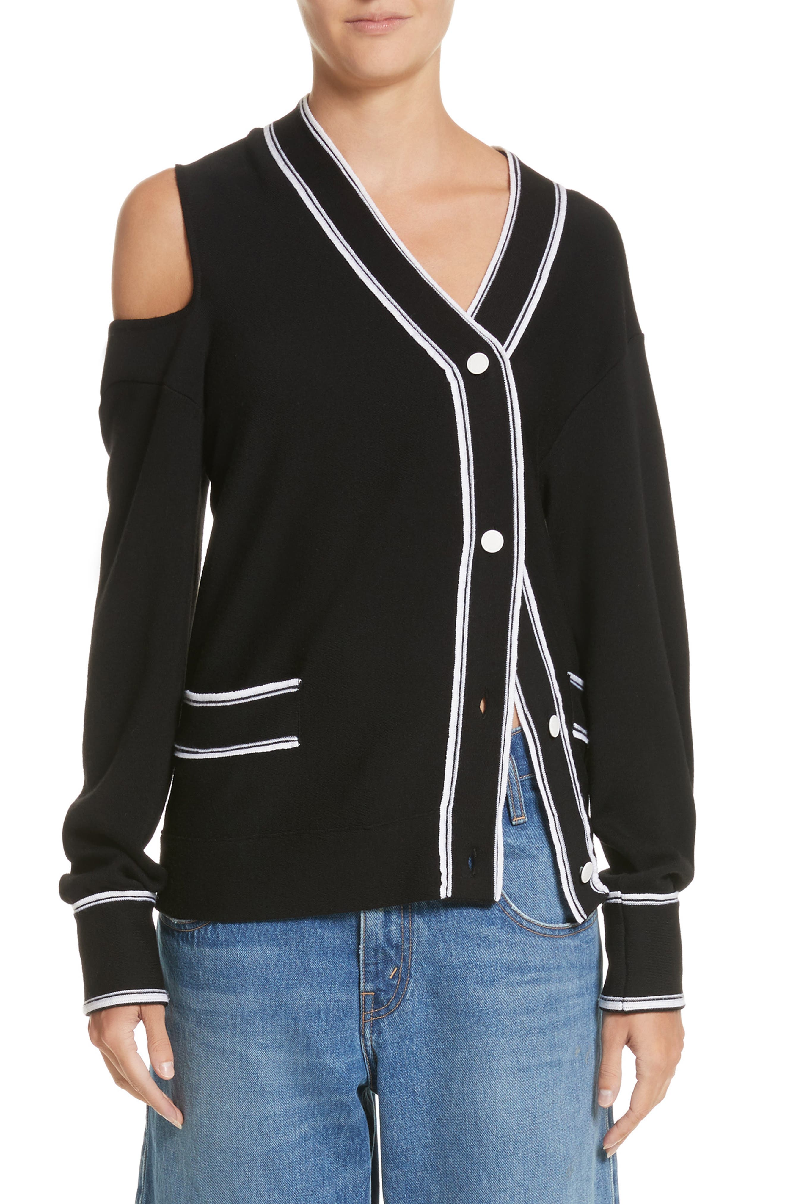 MONSE Cold Shoulder Asymmetrical Cardigan