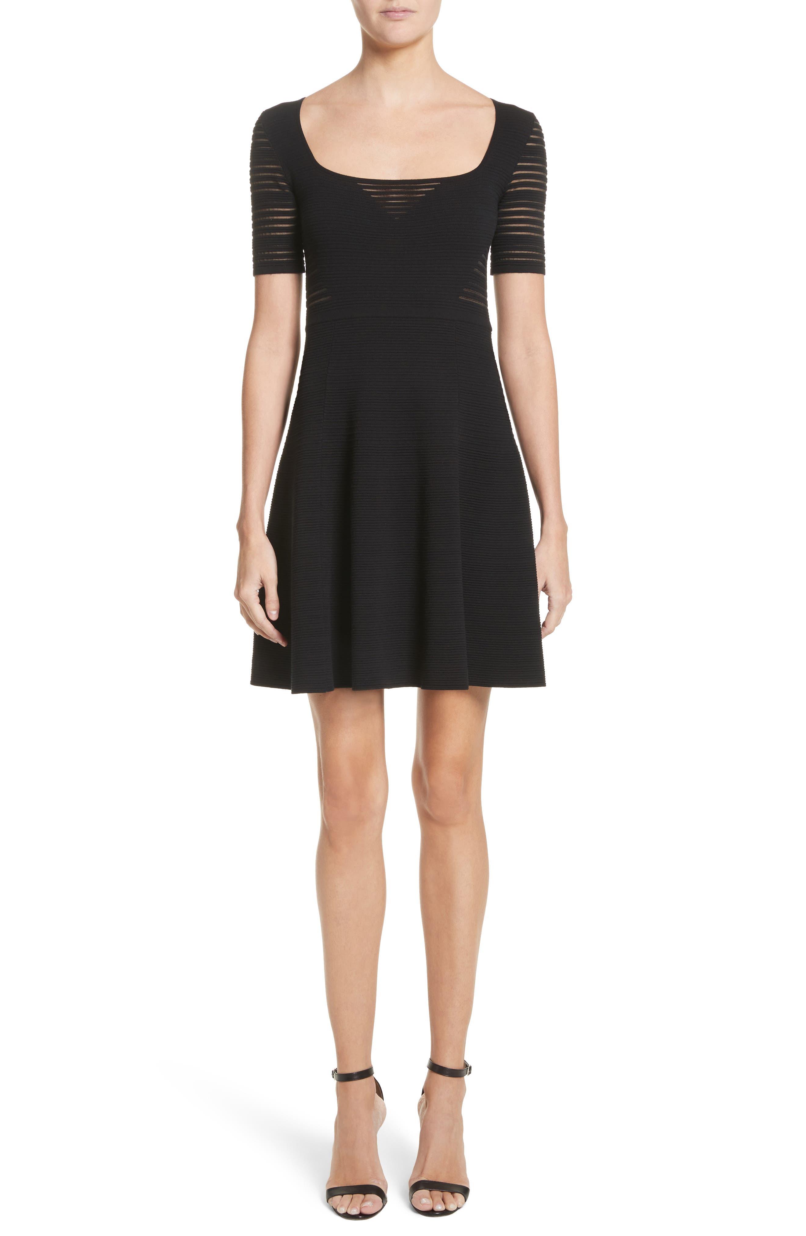 Stripe Knit A-Line Dress,                             Main thumbnail 1, color,                             Black