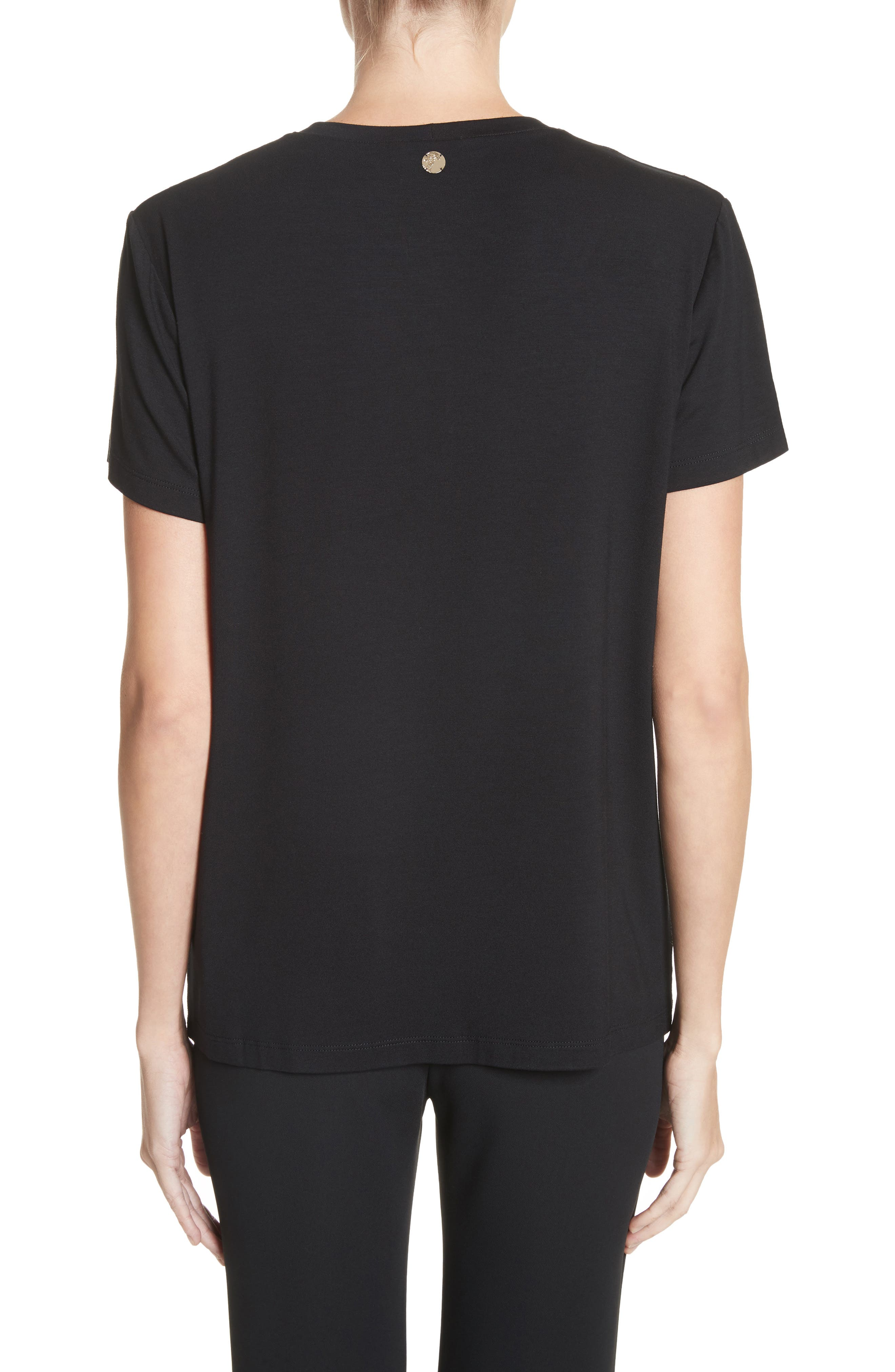 Beaded Jersey Tee,                             Alternate thumbnail 2, color,                             Black