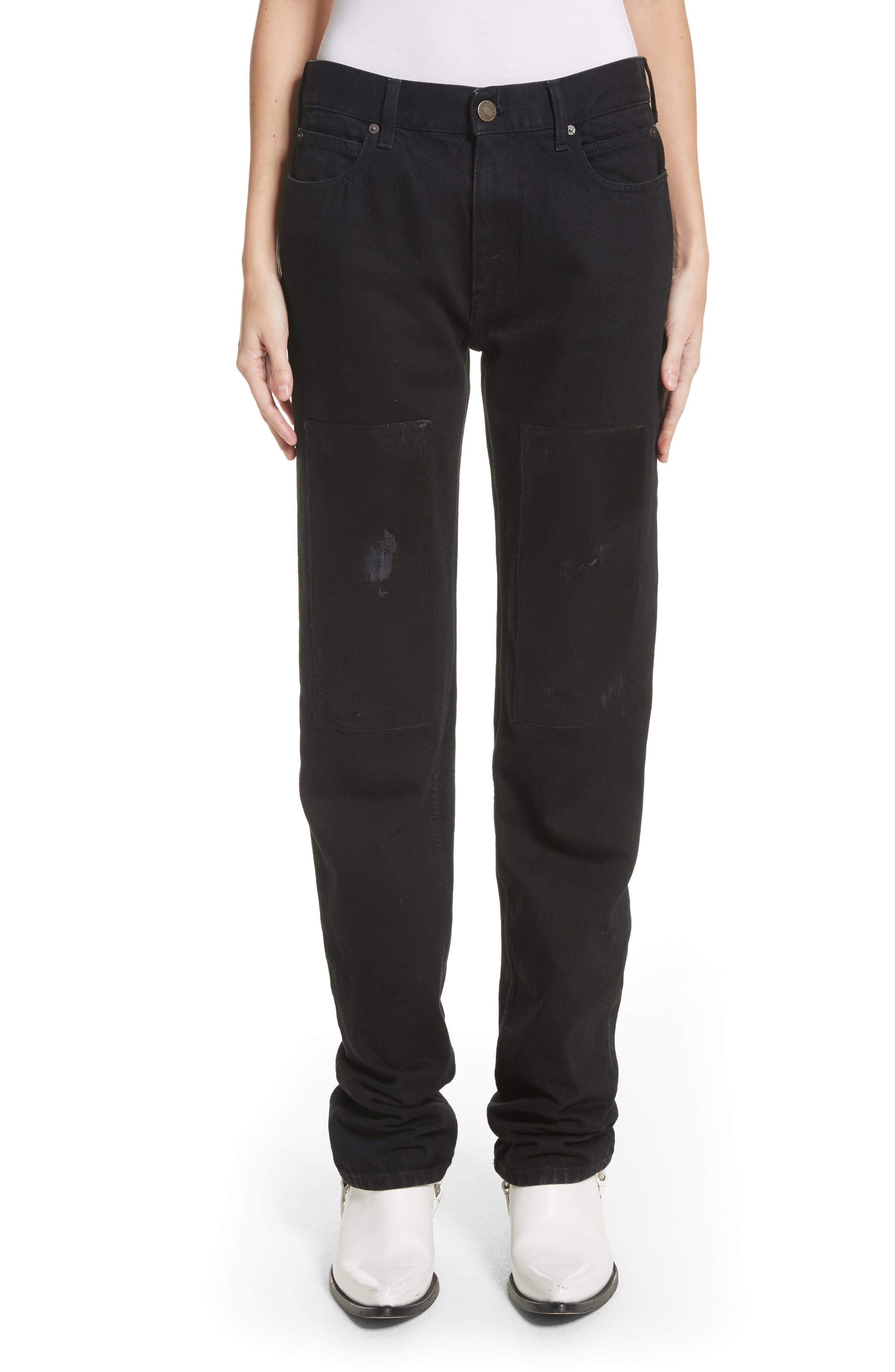 Silk Knee Patch Straight Leg Jeans,                         Main,                         color, Black