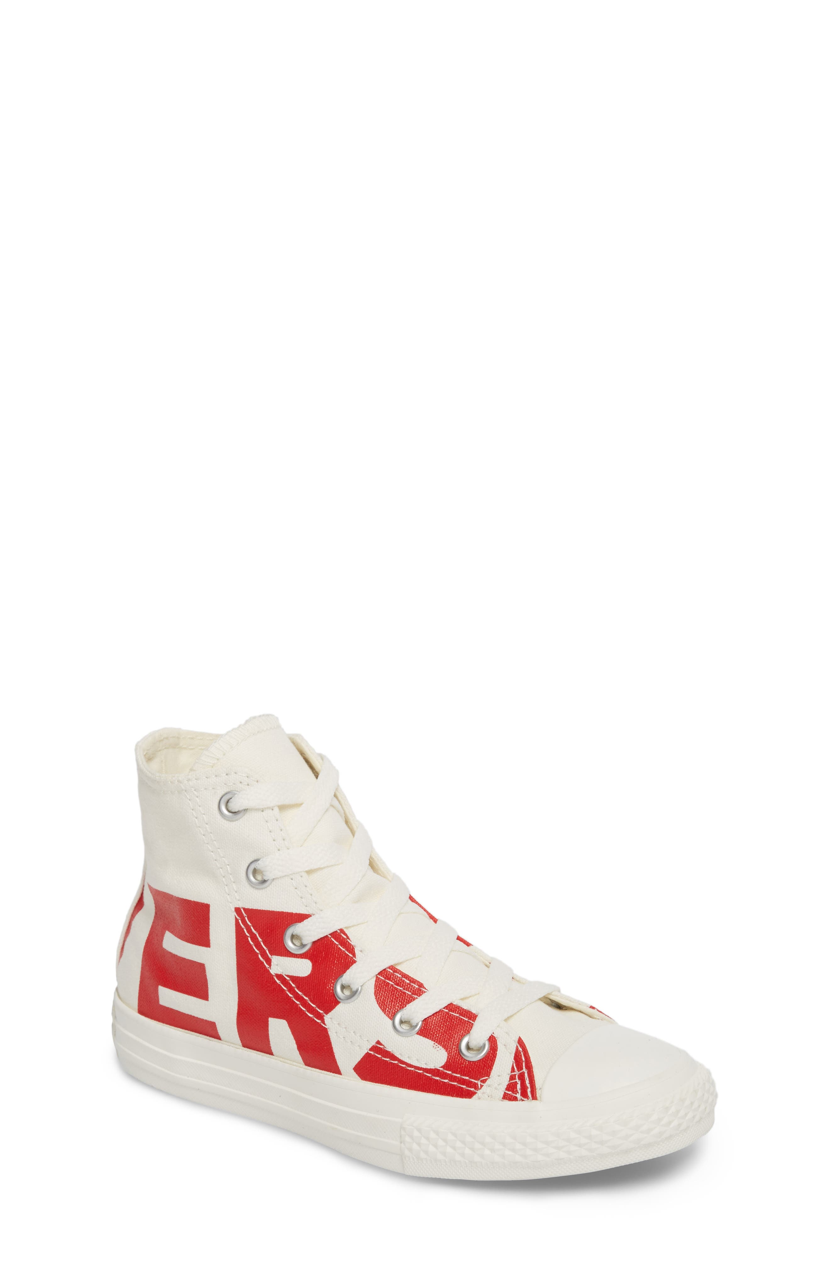 Chuck Taylor<sup>®</sup> All Star<sup>®</sup> Wordmark Hi Sneaker,                         Main,                         color, Enamel Red