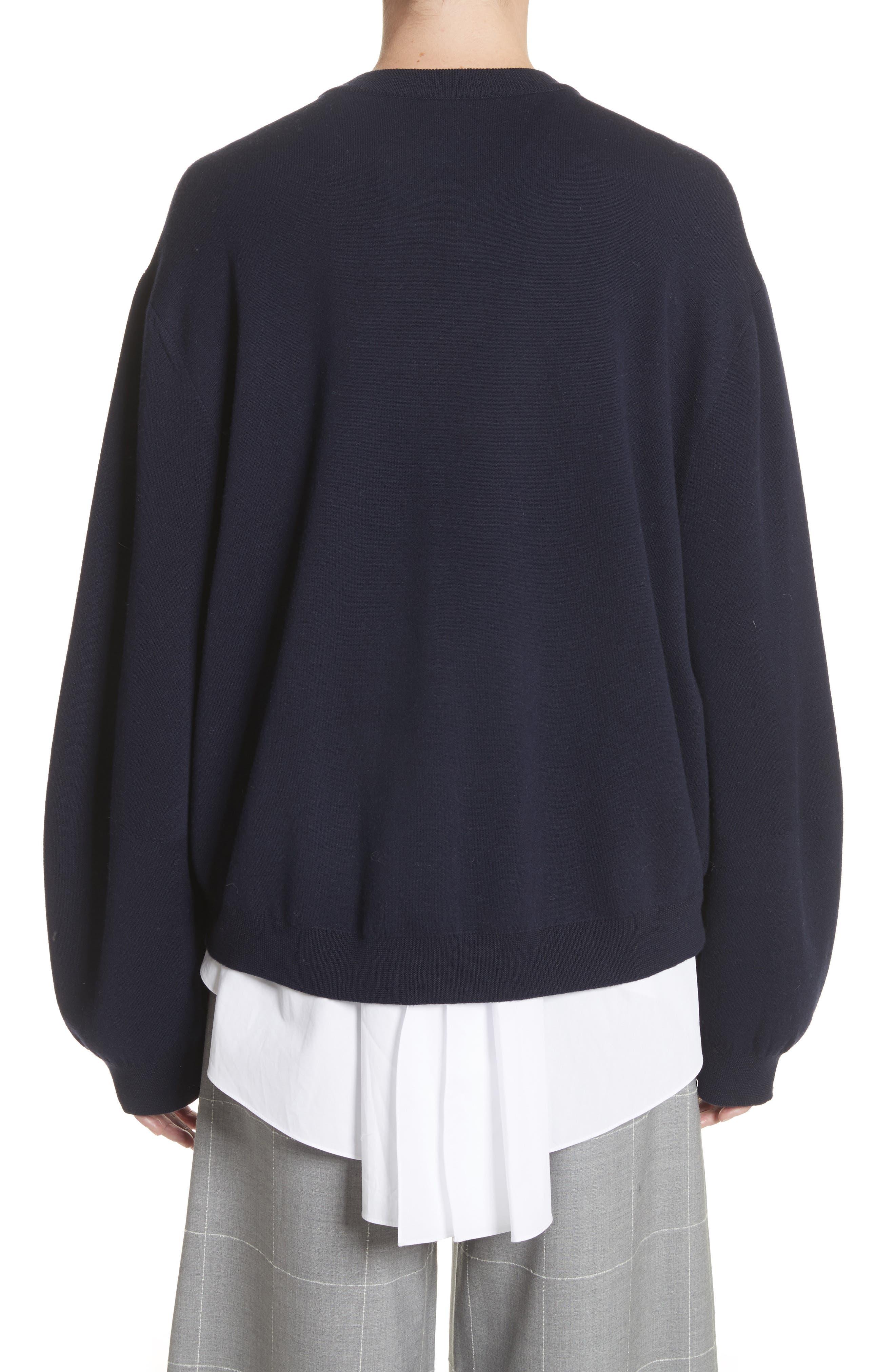 Imitation Pearl Sleeve Merino Wool Sweater,                             Alternate thumbnail 2, color,                             Navy/ Black
