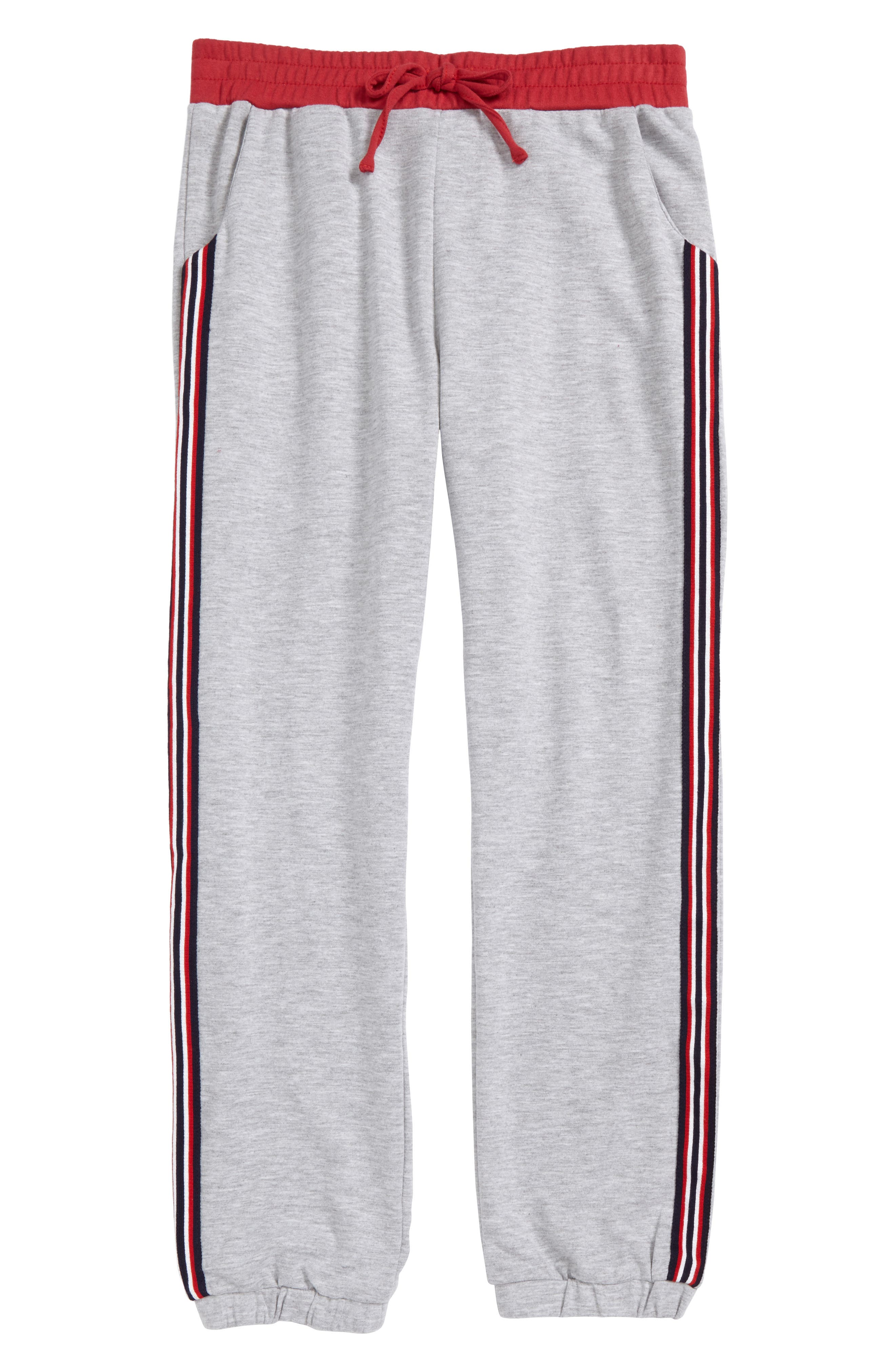 Side Stripe Sweatpants,                             Main thumbnail 1, color,                             Heather Grey/ Red