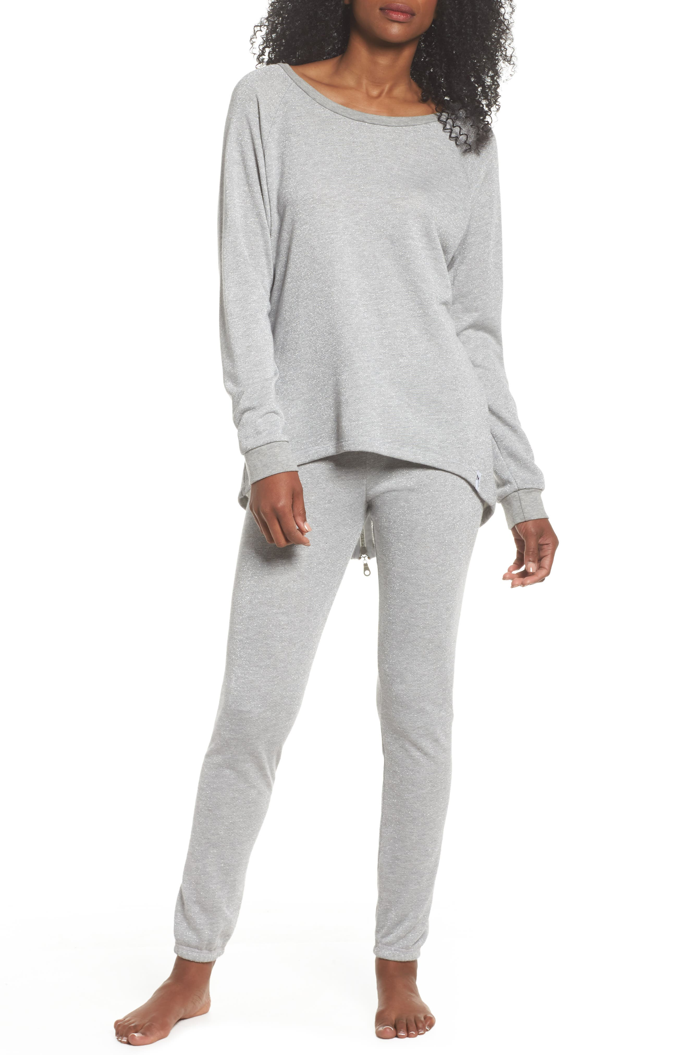 Louie Metallic High/Low Pullover,                             Alternate thumbnail 5, color,                             Heather Grey
