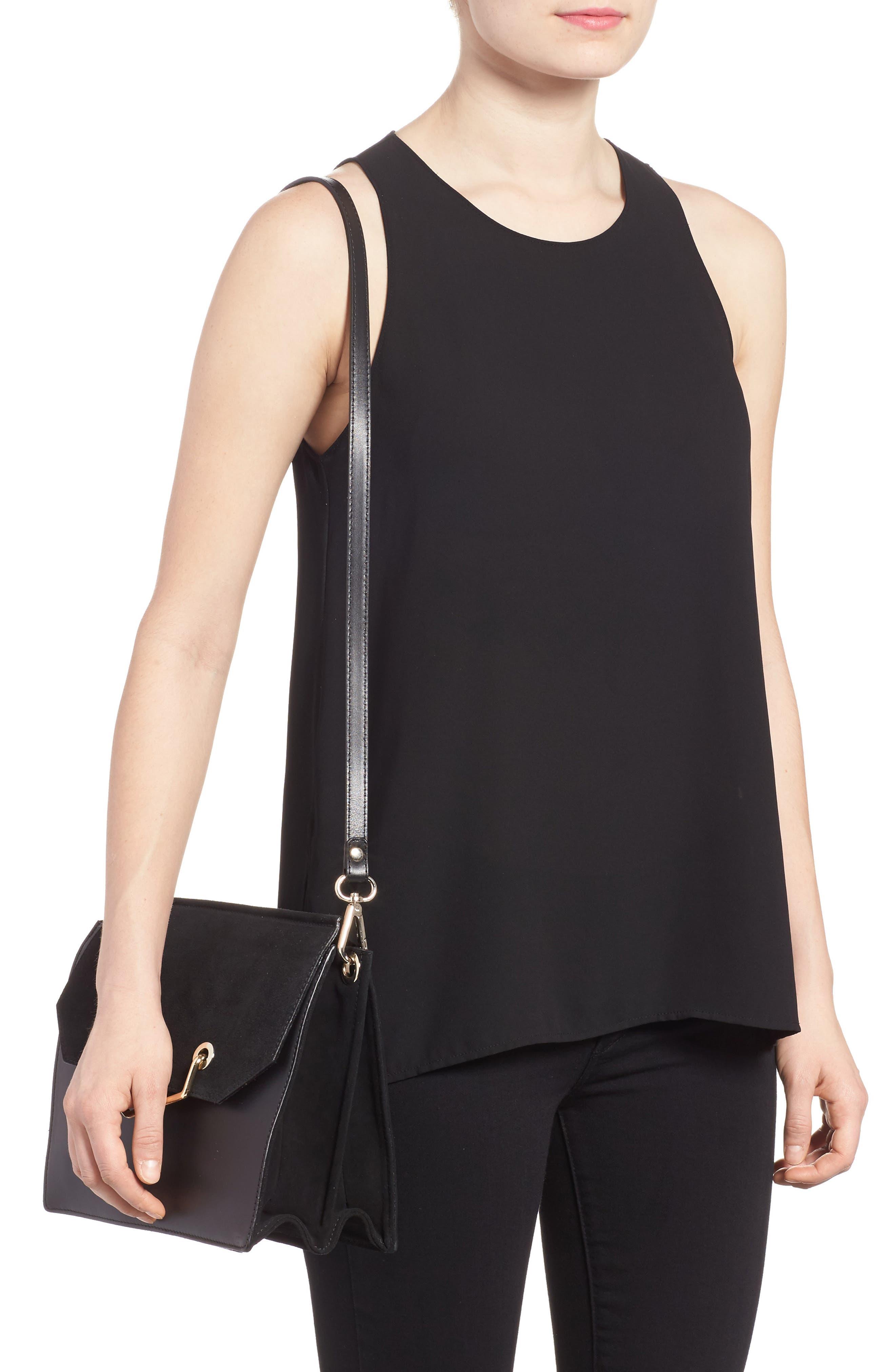 Premium Leather & Suede Soko Shoulder Bag,                             Alternate thumbnail 2, color,                             Black