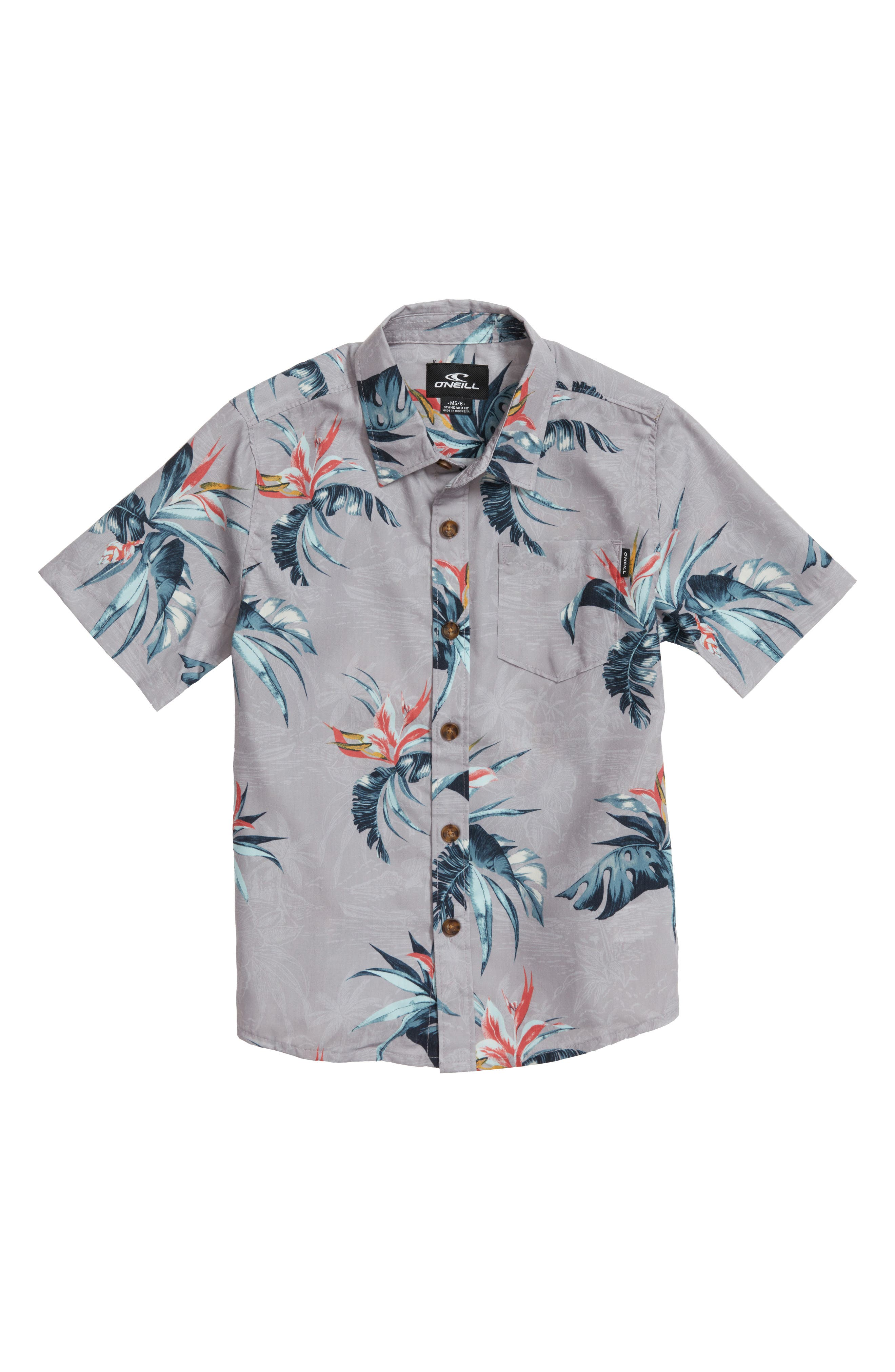 Islander Floral Print Woven Shirt,                         Main,                         color, Light Grey