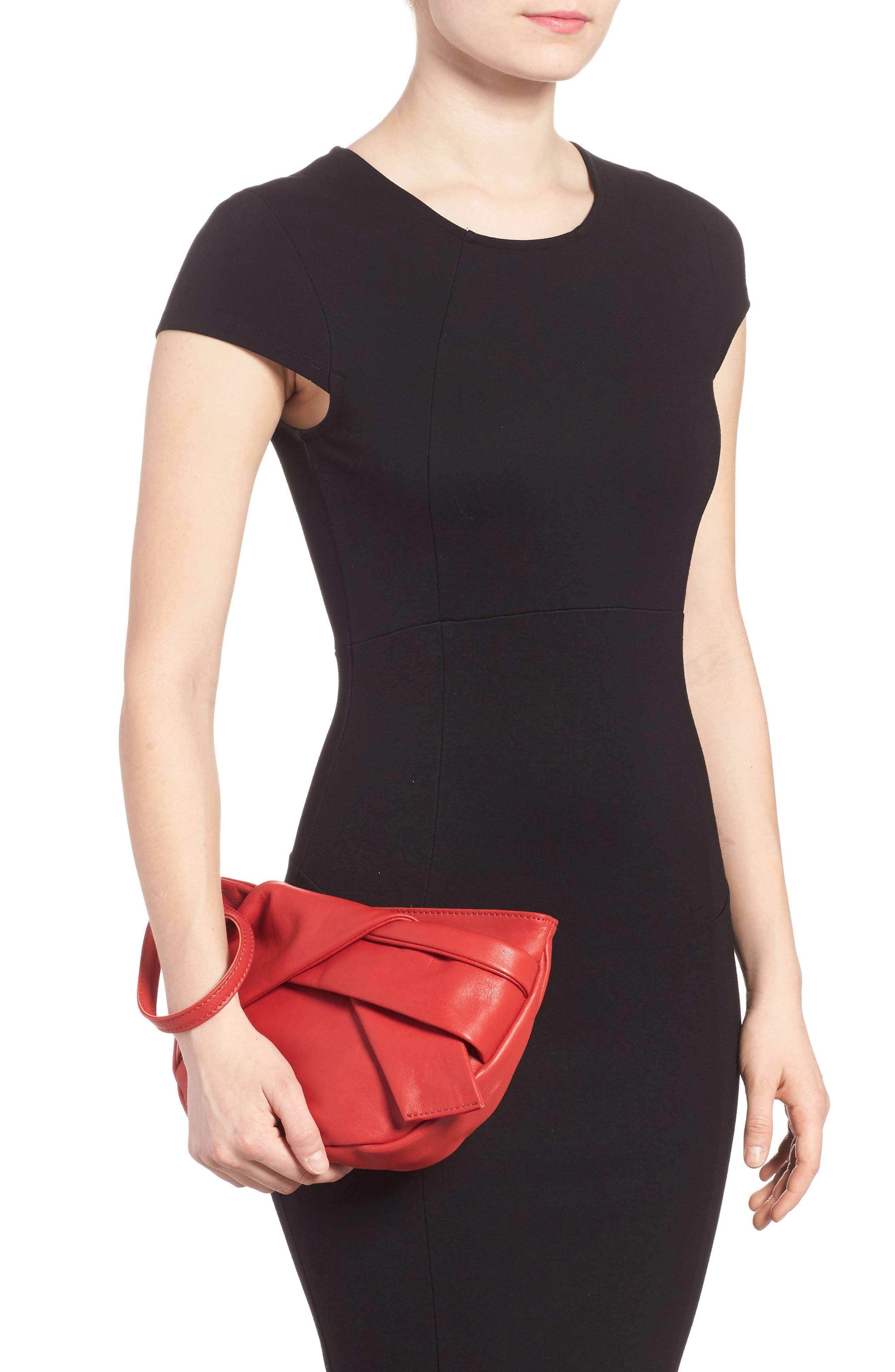 Jasmine Leather Clutch,                             Alternate thumbnail 2, color,                             Red