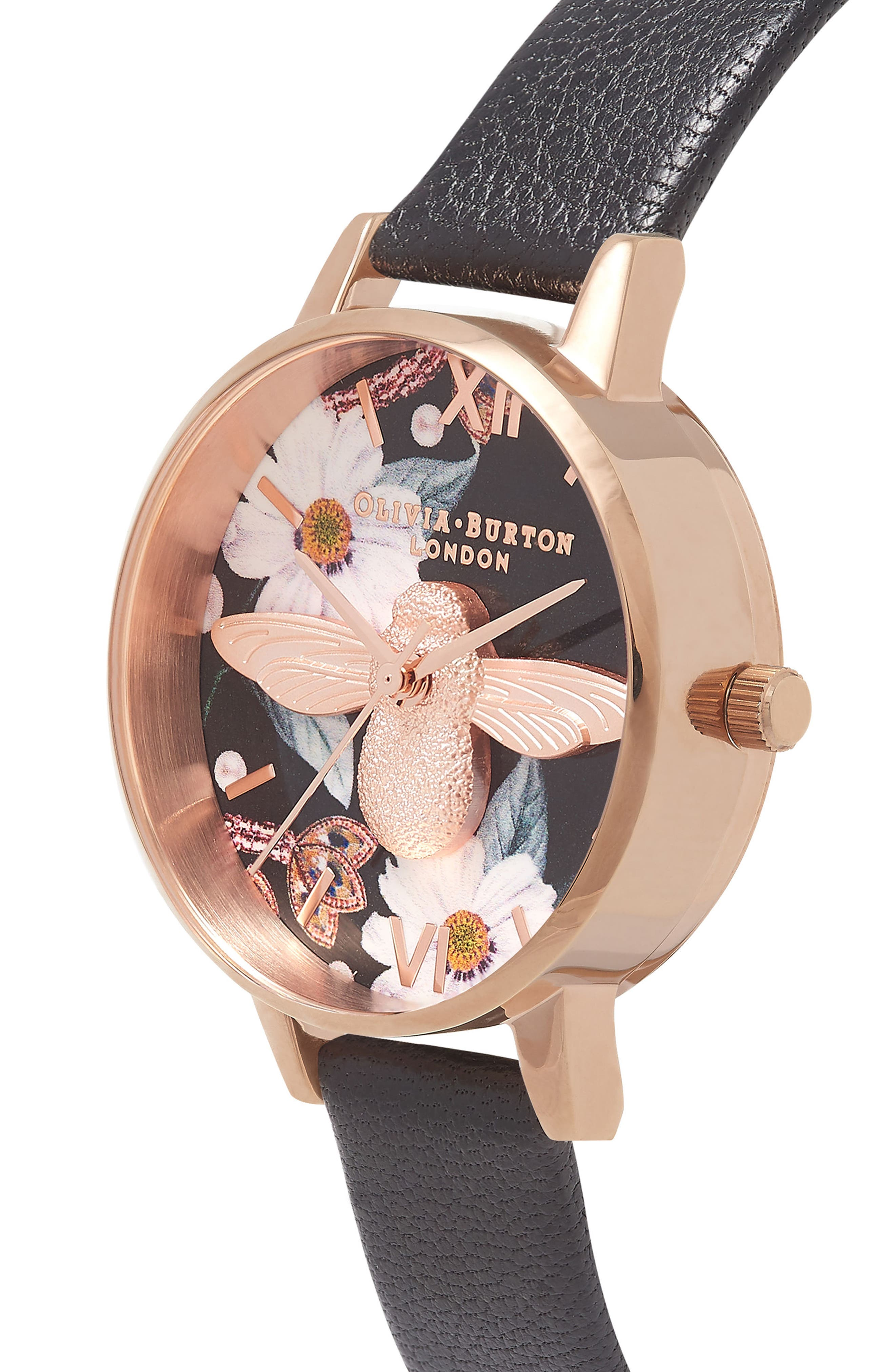 Bejewelled Florals Leather Strap Watch, 30mm,                             Alternate thumbnail 2, color,                             Black/ Floral Bee/ Rose Gold