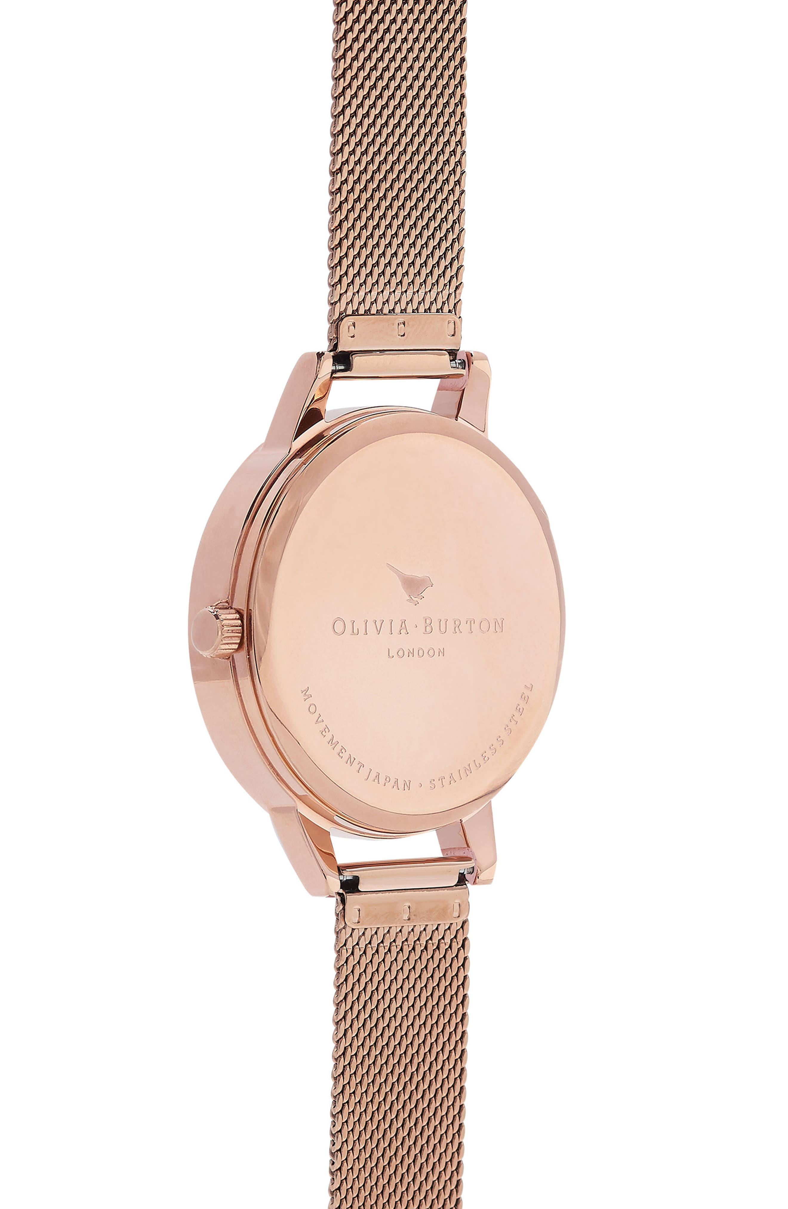 Watercolour Florals Mesh Strap Watch, 30mm,                             Alternate thumbnail 2, color,                             Rose Gold/ White / Rose Gold