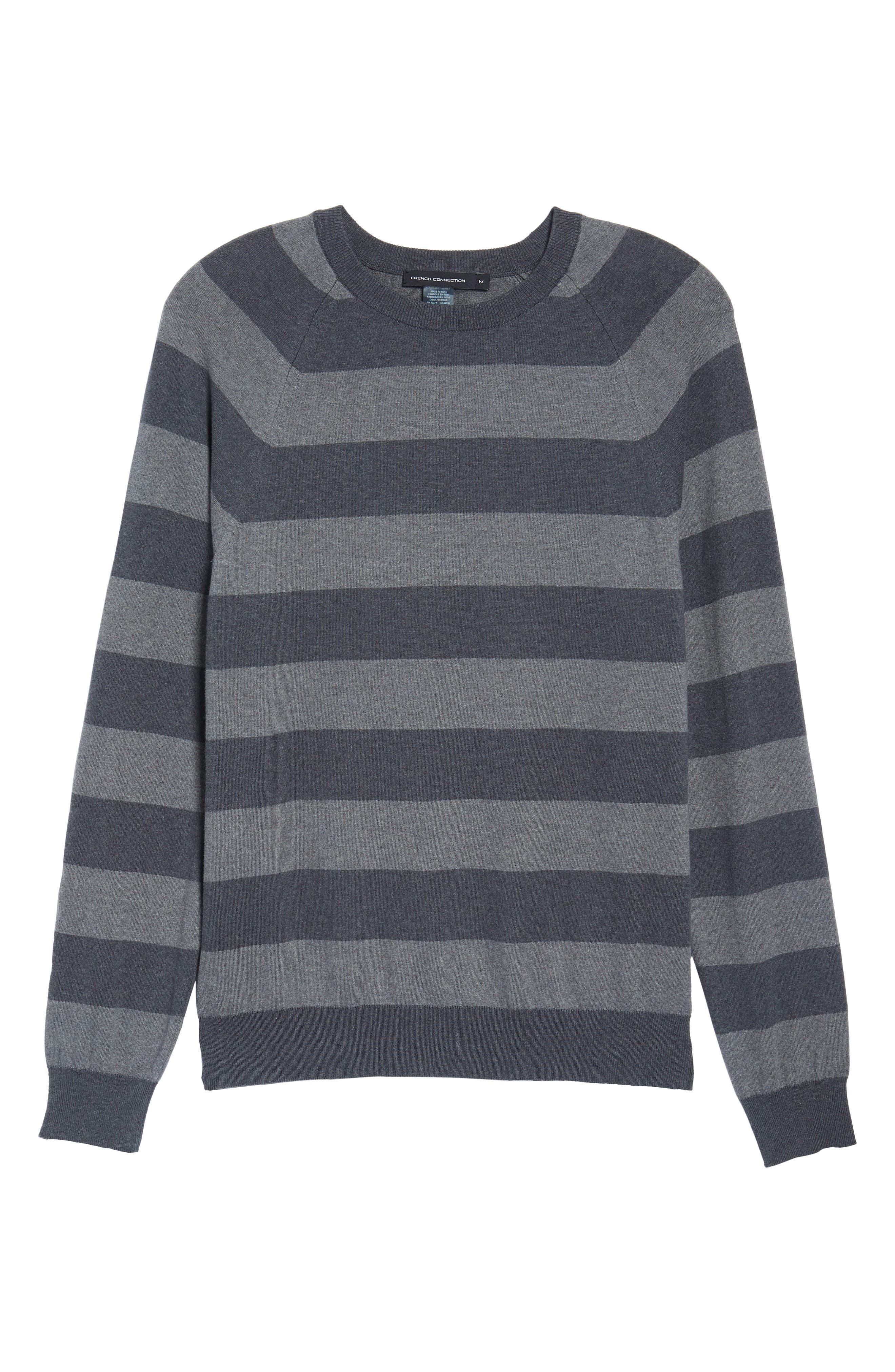Stripe Stretch Cotton Sweater,                             Alternate thumbnail 6, color,                             Mid Grey/ Charcoal Melange