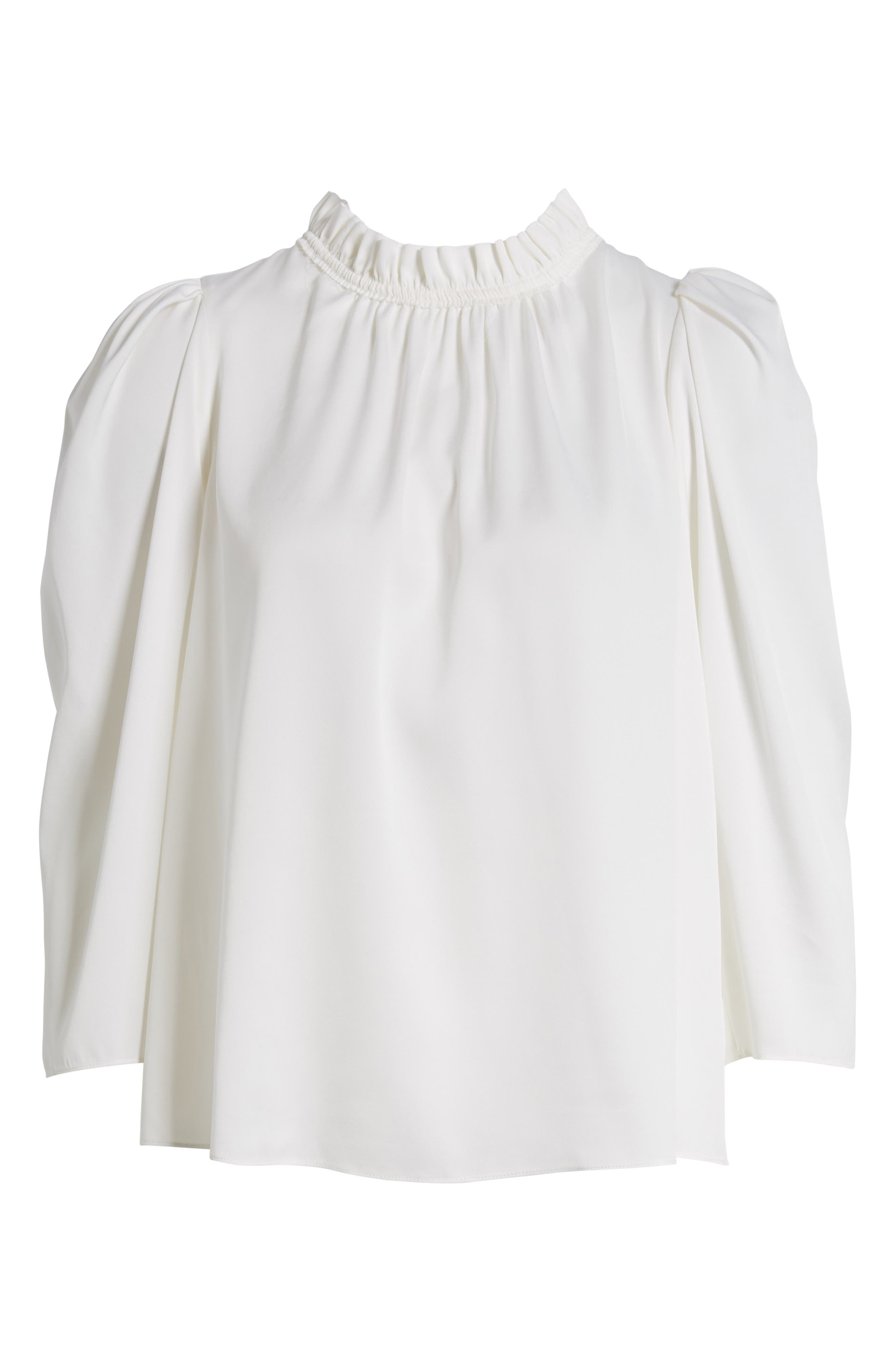 Ruffle Neck Stretch Silk Top,                             Alternate thumbnail 6, color,                             Ivory Cloud