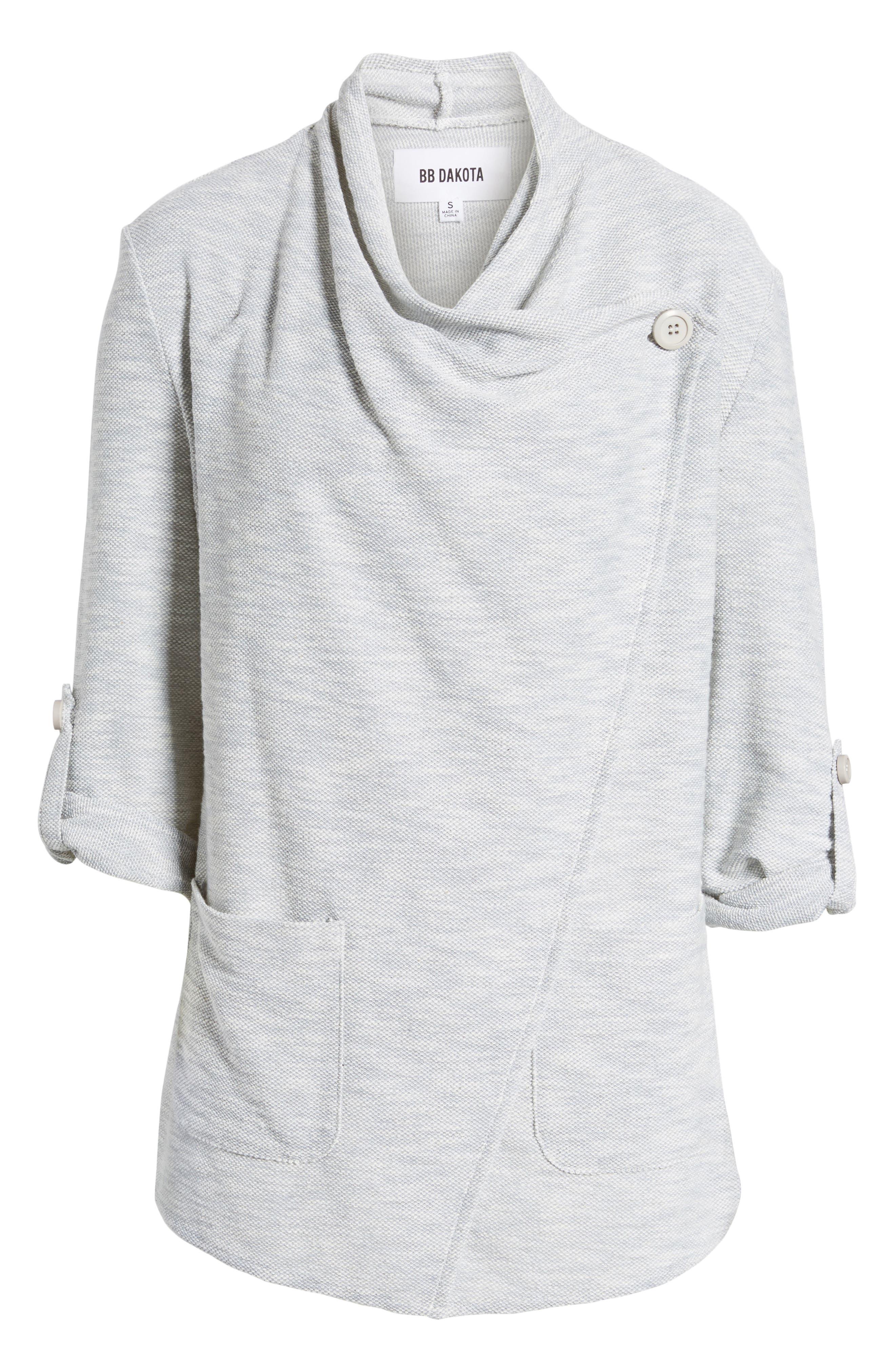 Kris Drape Front Knit Jacket,                             Alternate thumbnail 6, color,                             Oatmeal
