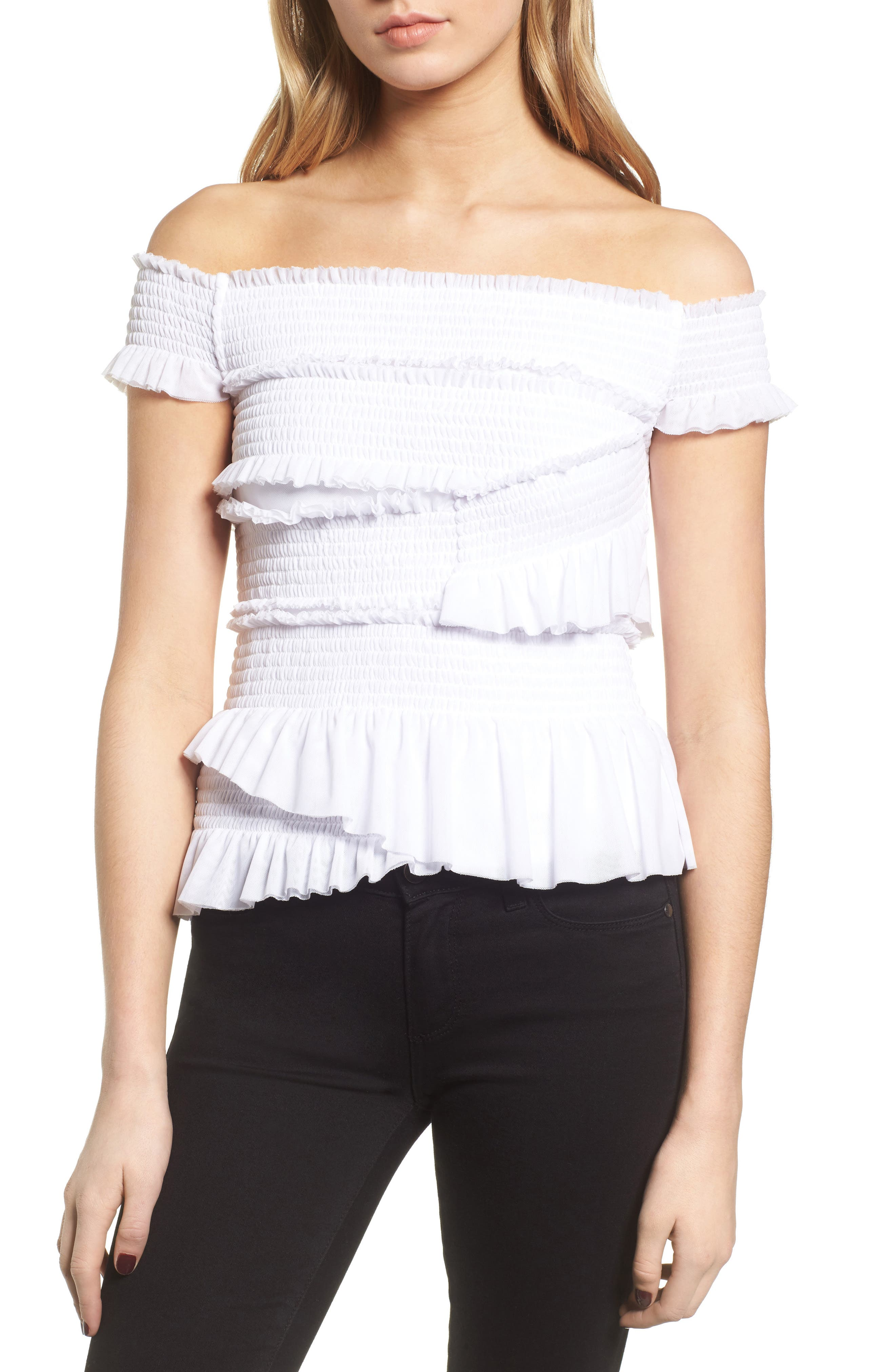 Smocked Ruffle Off the Shoulder Top,                             Main thumbnail 1, color,                             White