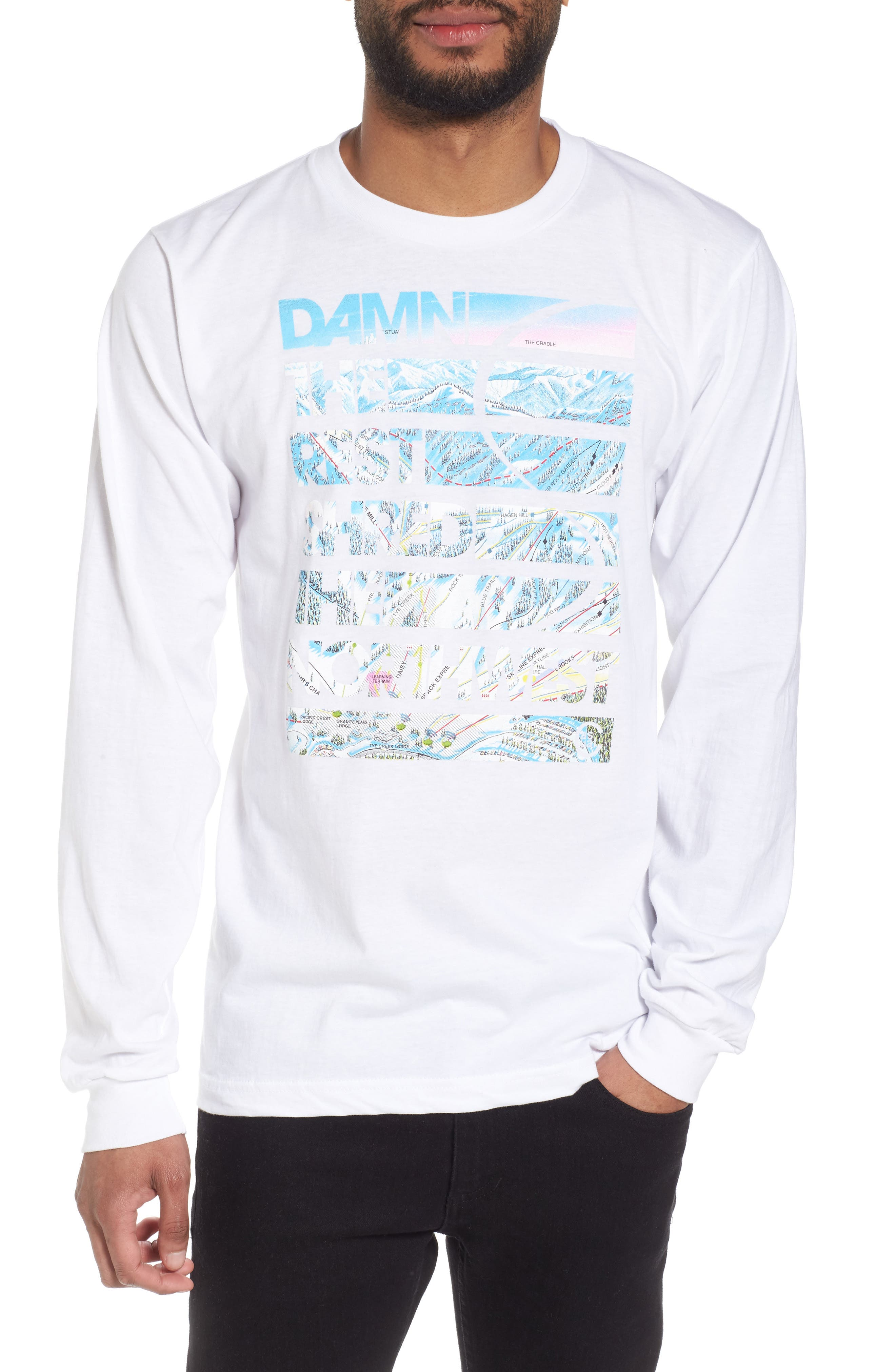 Damn the Rest Trail Map T-Shirt,                         Main,                         color, White