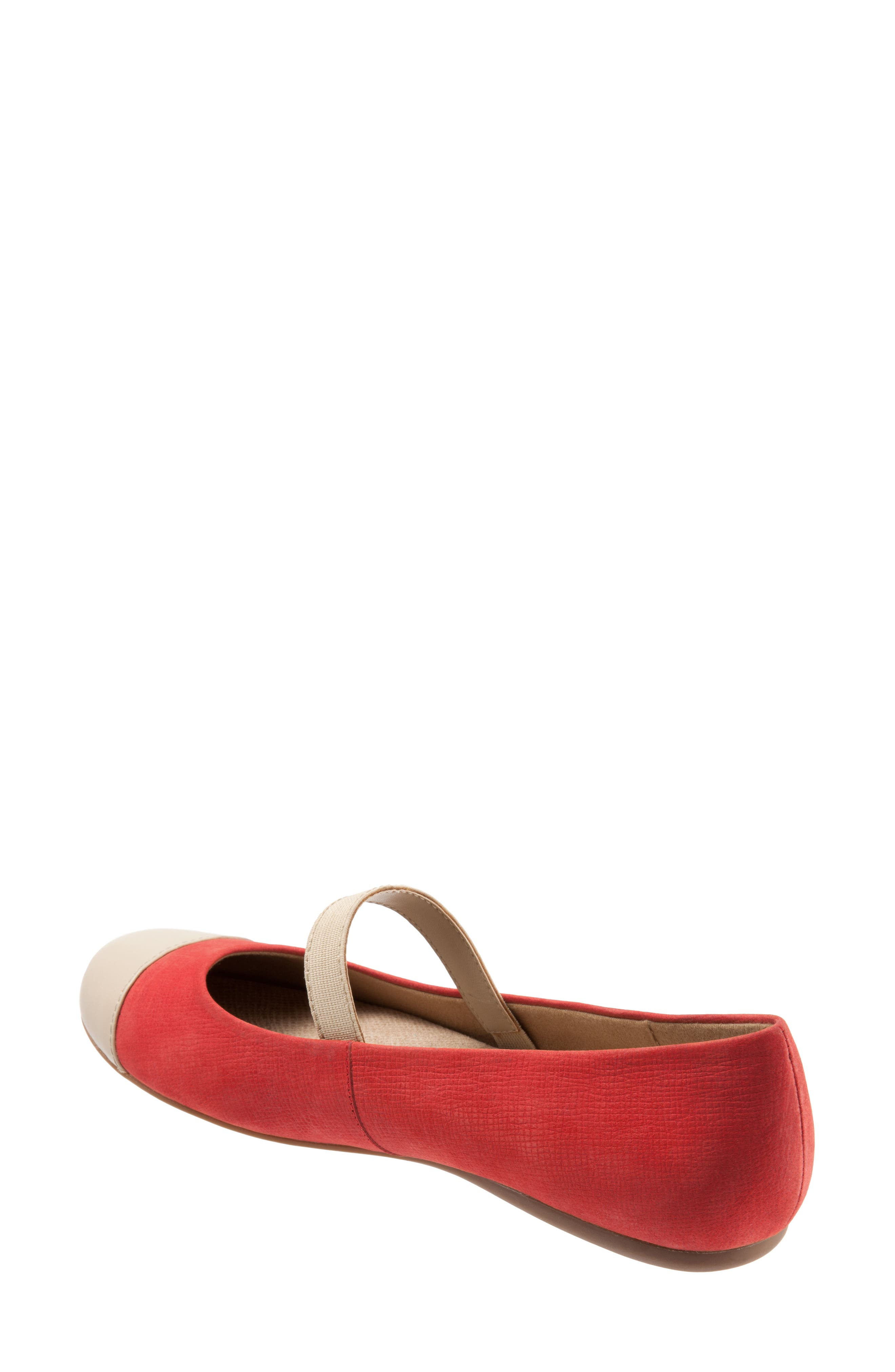 Napa Mary Jane Flat,                             Alternate thumbnail 2, color,                             Red/ Nude Leather