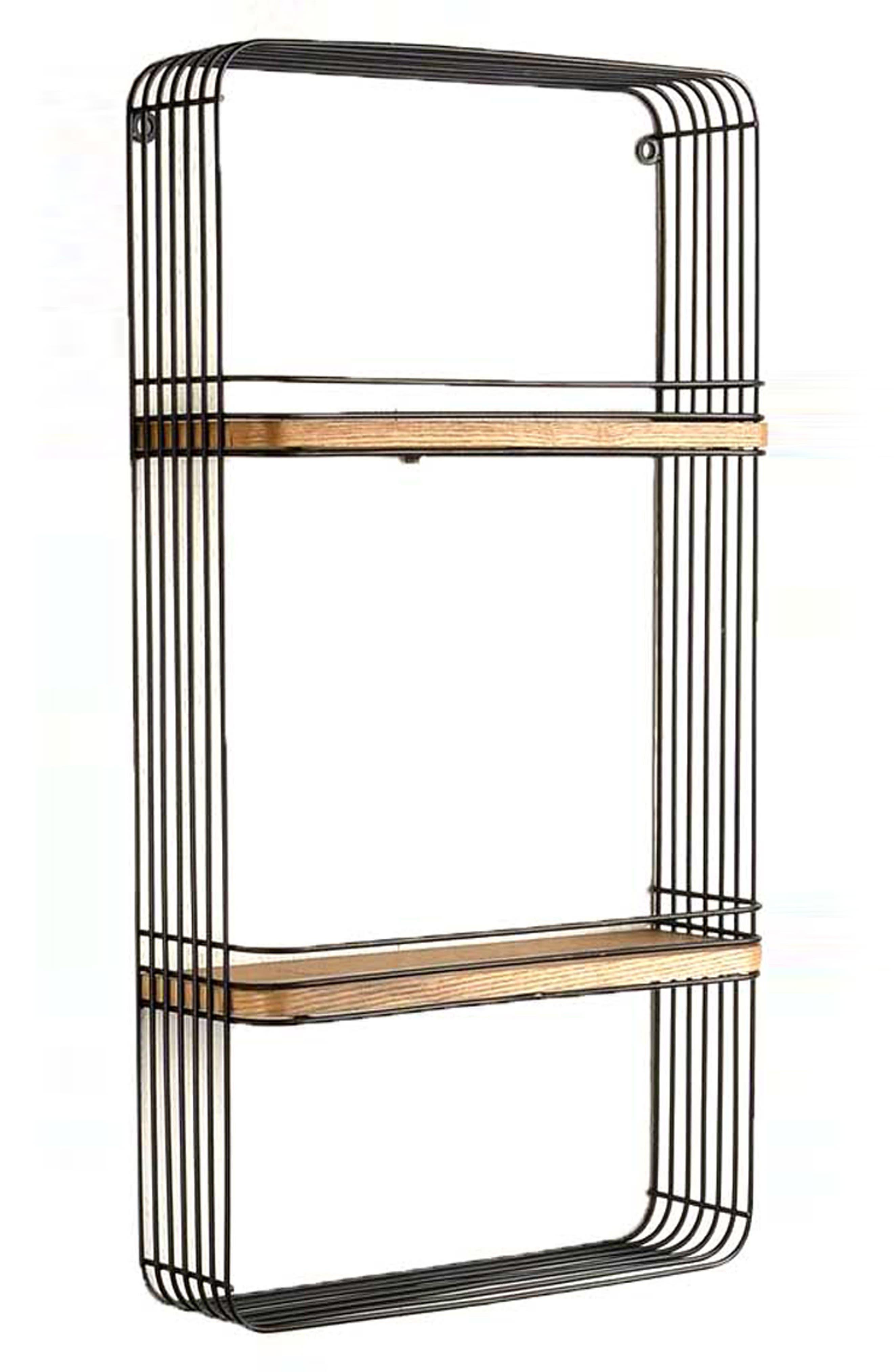Metal & Wood Wall Shelf,                             Alternate thumbnail 2, color,                             Black