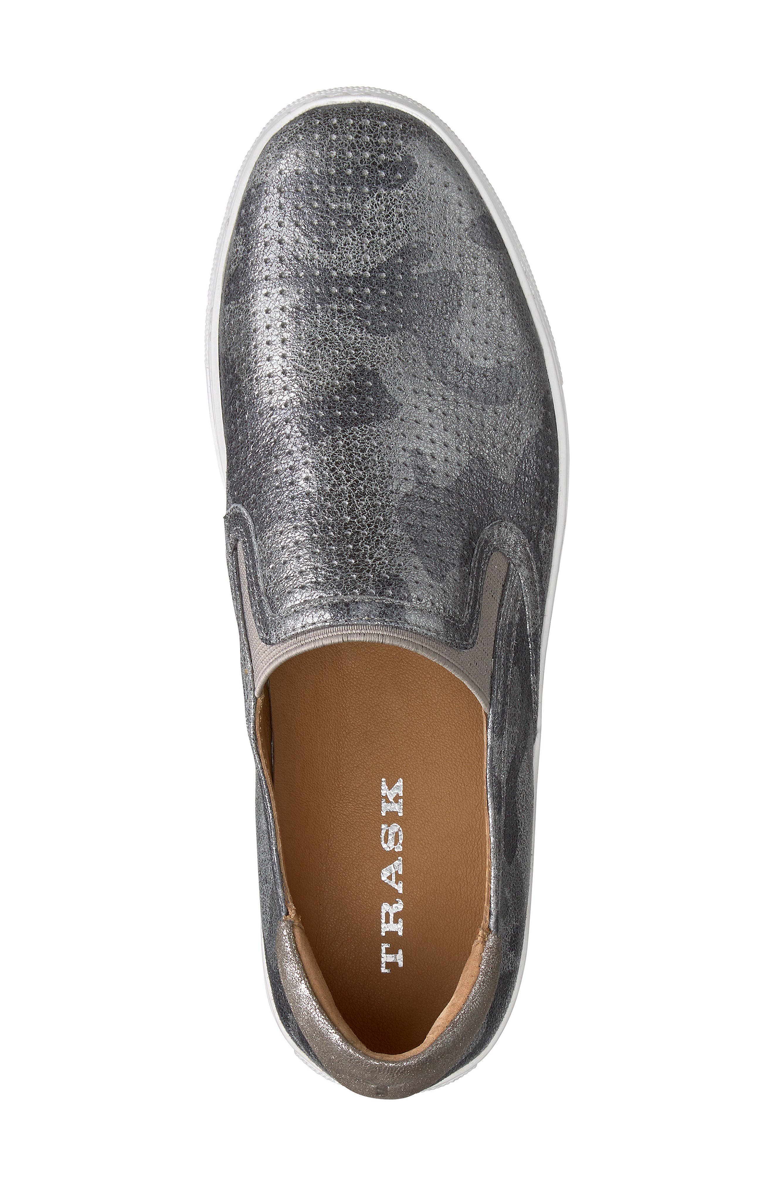 Lillian Water Resistant Slip-On Sneaker,                             Alternate thumbnail 5, color,                             Pewter Camo Leather