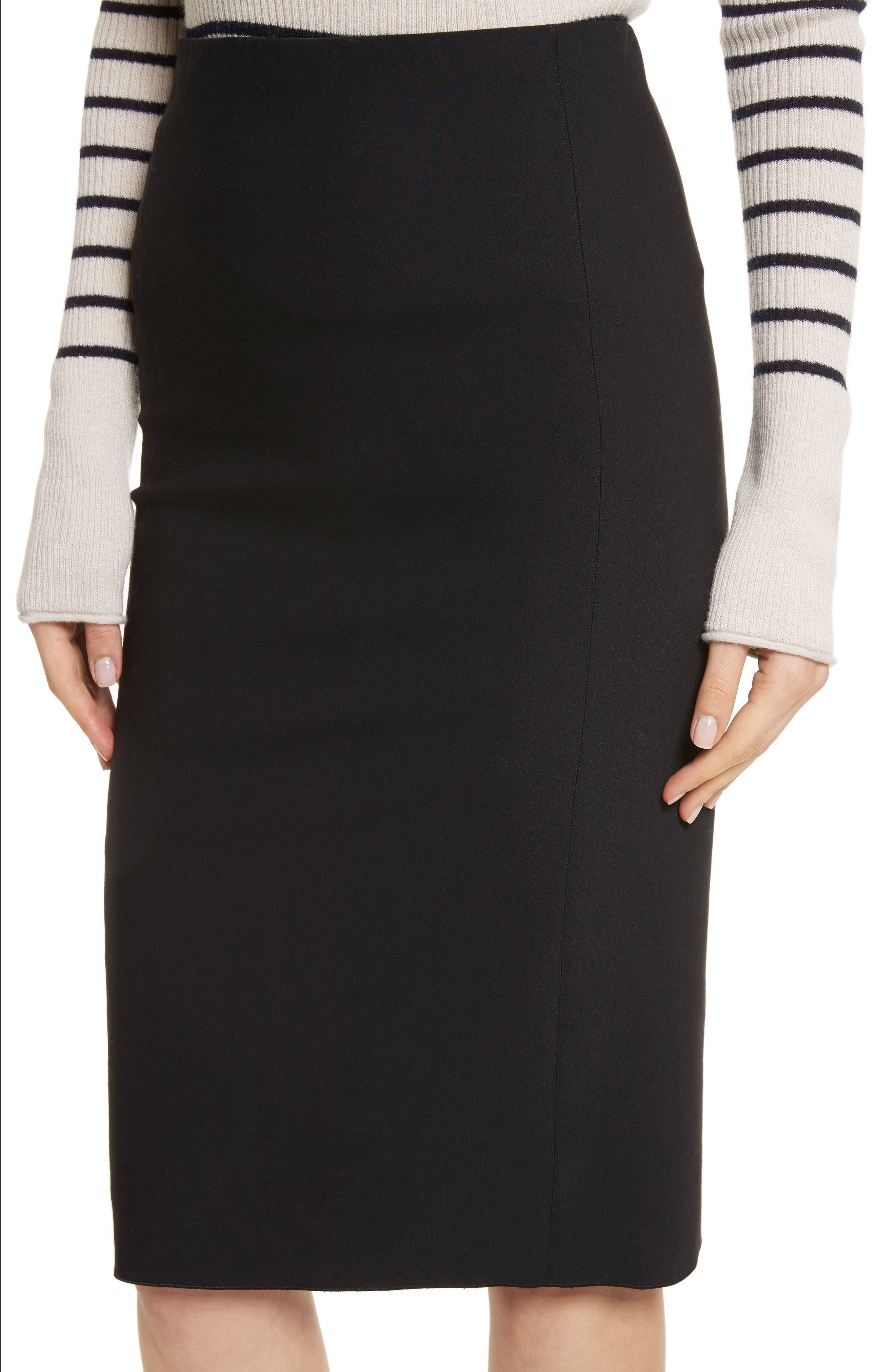 Stretch Ponte Pencil Skirt,                             Alternate thumbnail 4, color,                             Black
