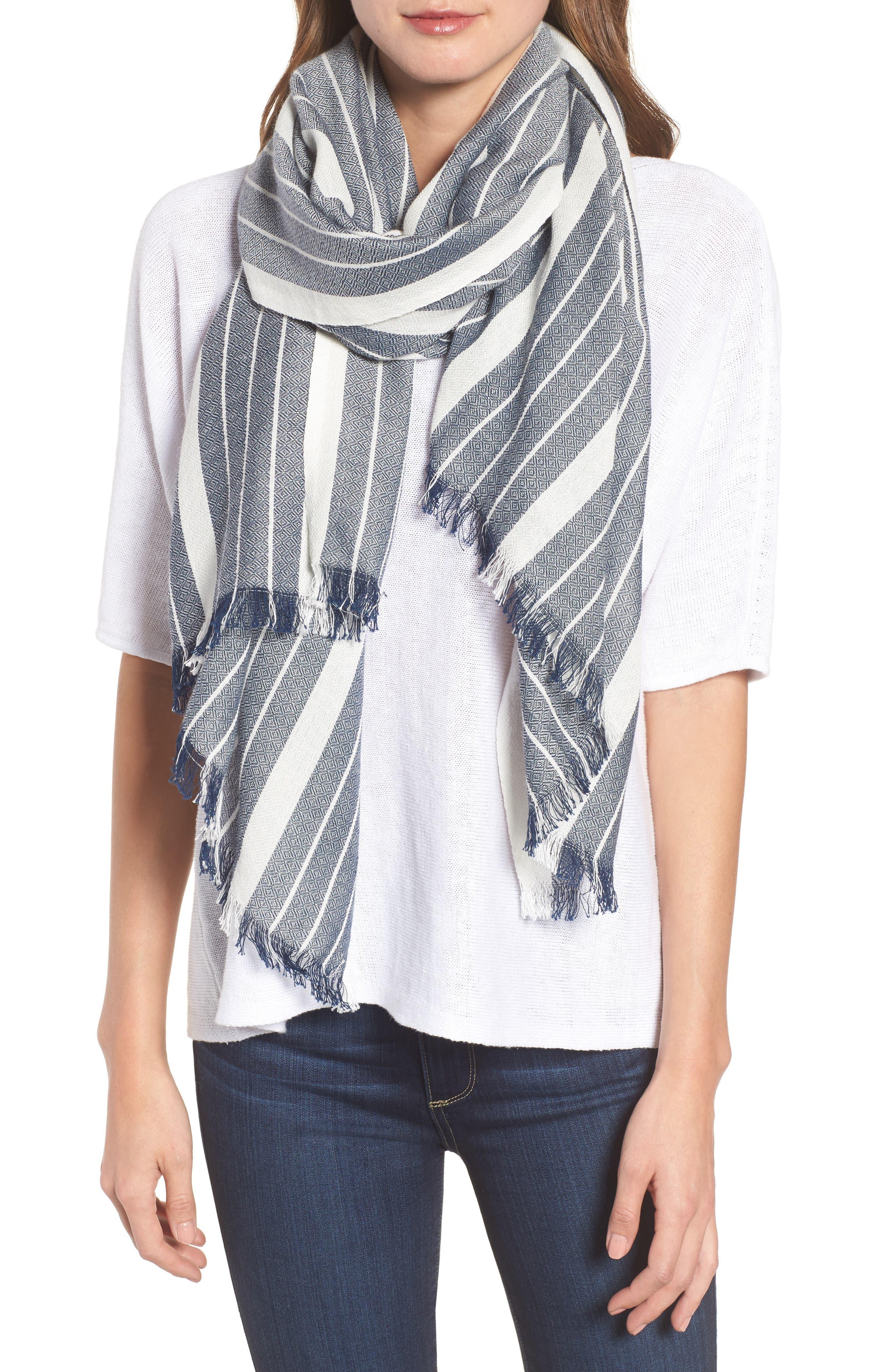 Stripe Organic Cotton & Wool Scarf,                         Main,                         color, Denim